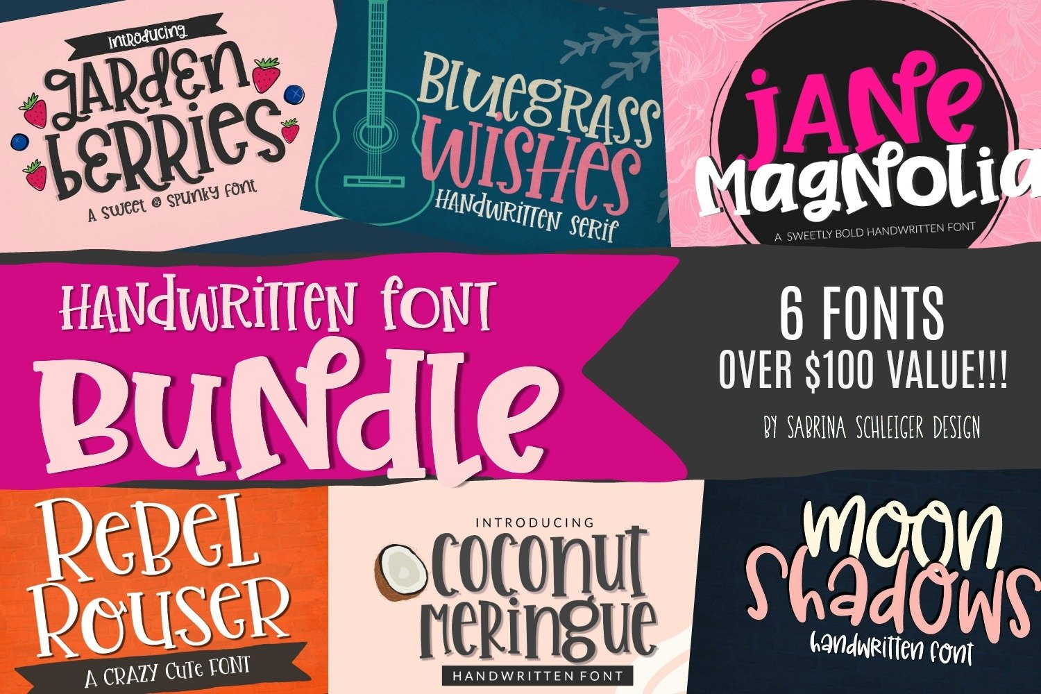 Handwritten Font Bundle for Crafters- 6 Cut Friendly Fonts example image 1