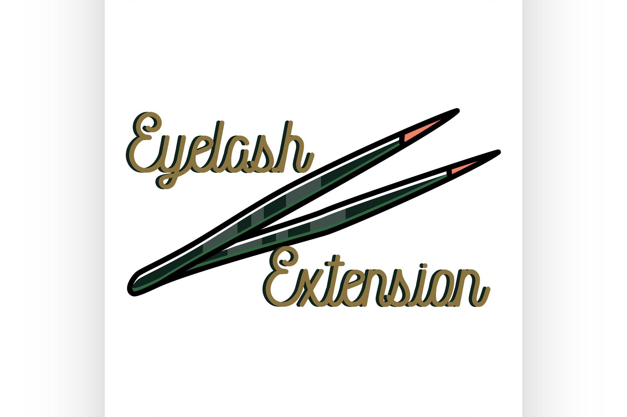 Color vintage eyelash extension emblem example image 1