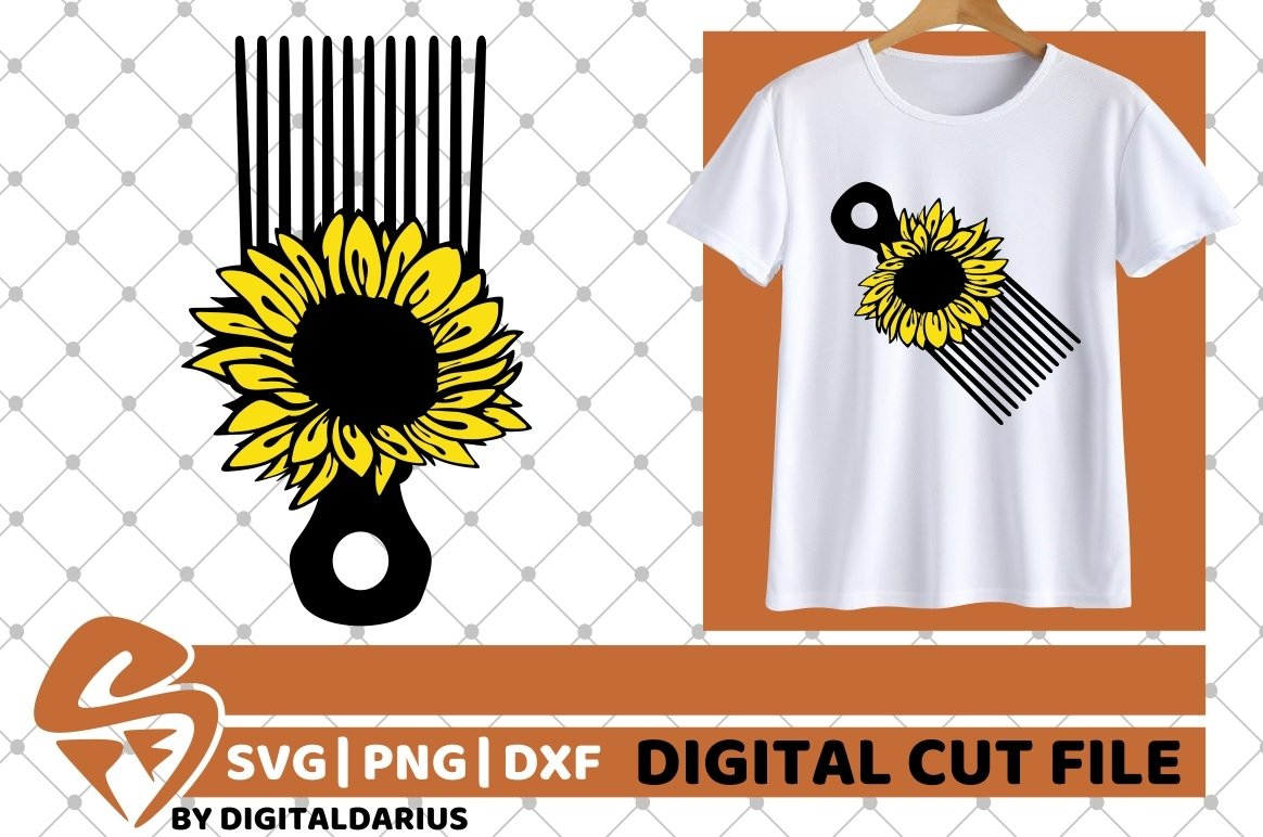 Hair Comb svg, Hairstylist svg, Hairdresser svg, Sunflower example image 1