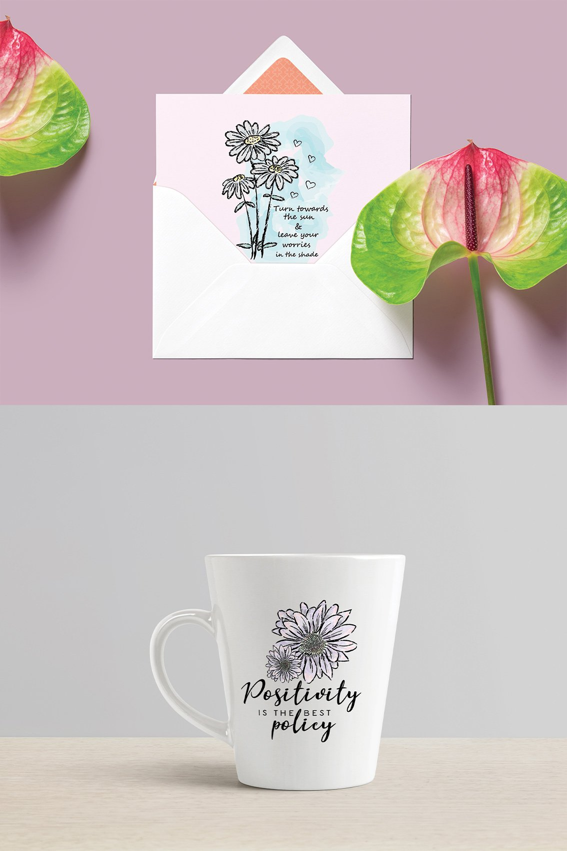 Floral Clipart, Watercolor Flowers, Positive Thoughts svg example image 6