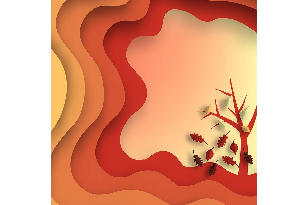 Autumn paper cut with leaves and tree. Abstract background w example image 1