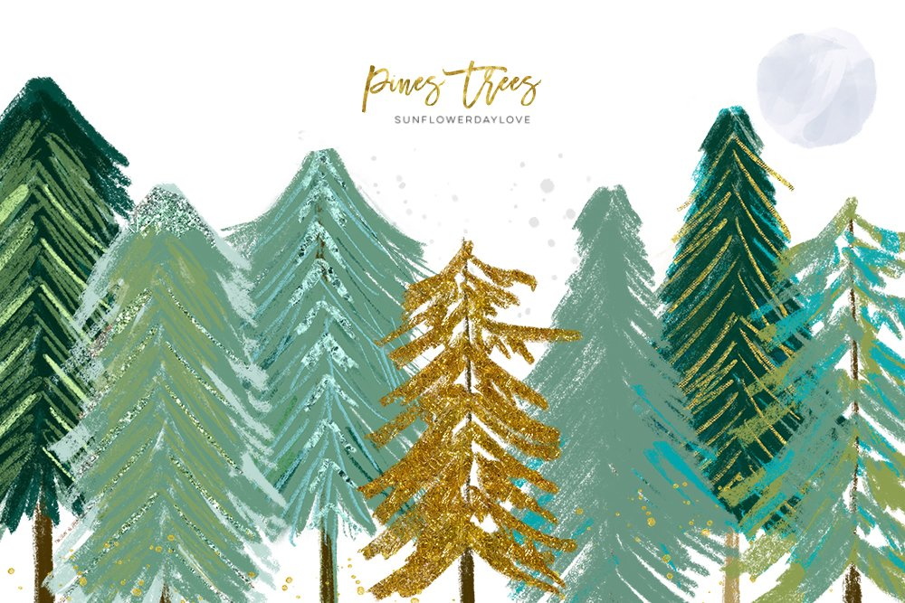 conifer trees watercolor pine trees rustic forest wood 137950 illustrations design bundles conifer trees watercolor pine trees rustic forest wood