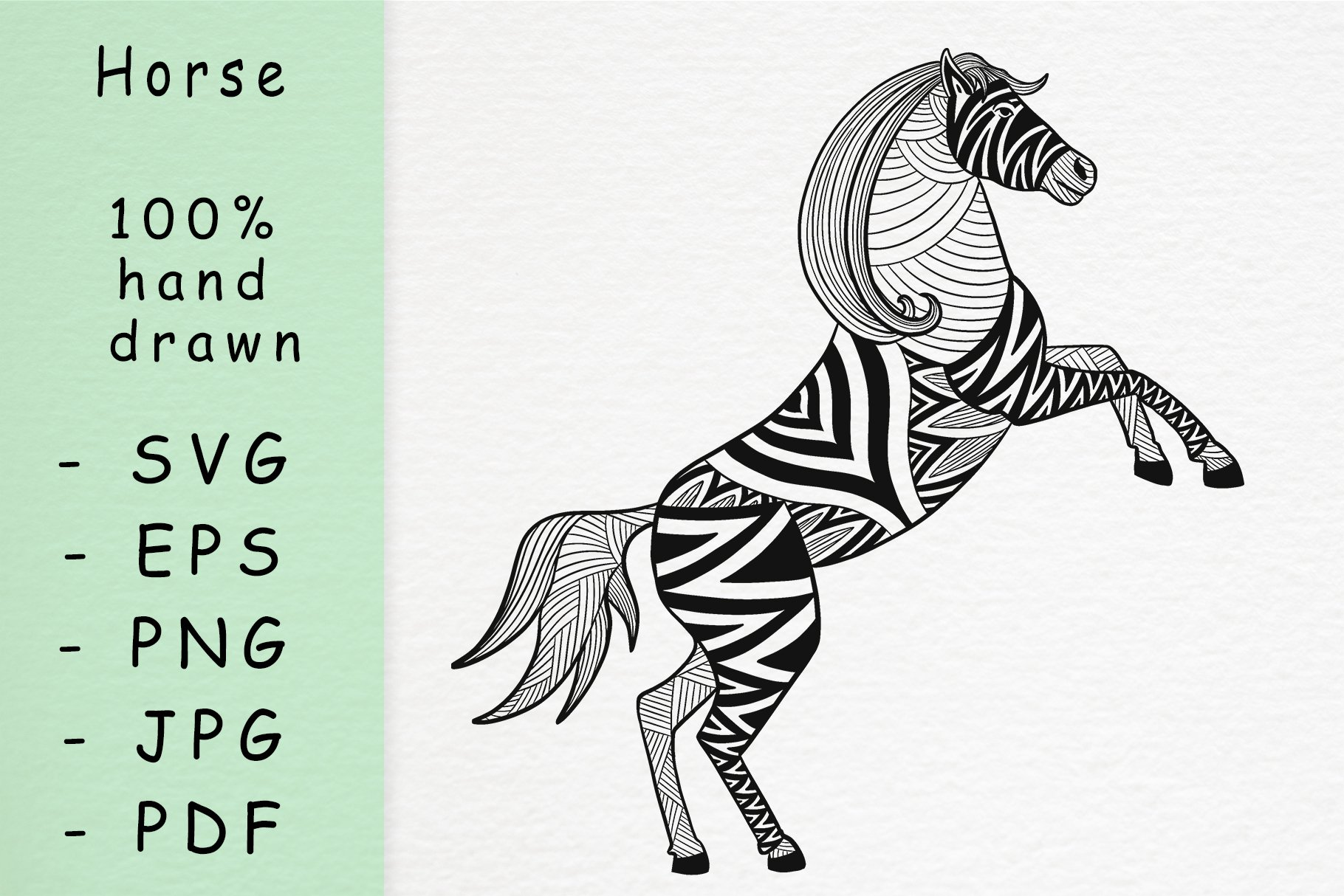 Hand drawn horse with patterns example image 1