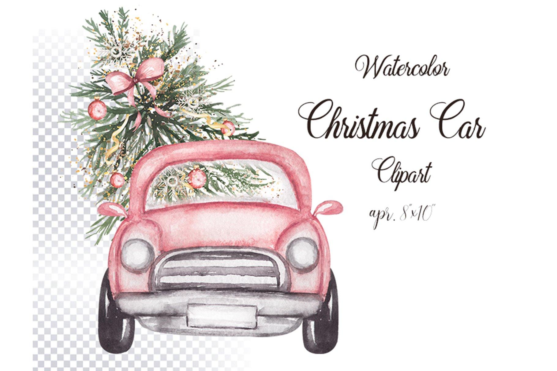 Download Watercolor Christmas Car Illustration 1092142 Illustrations Design Bundles