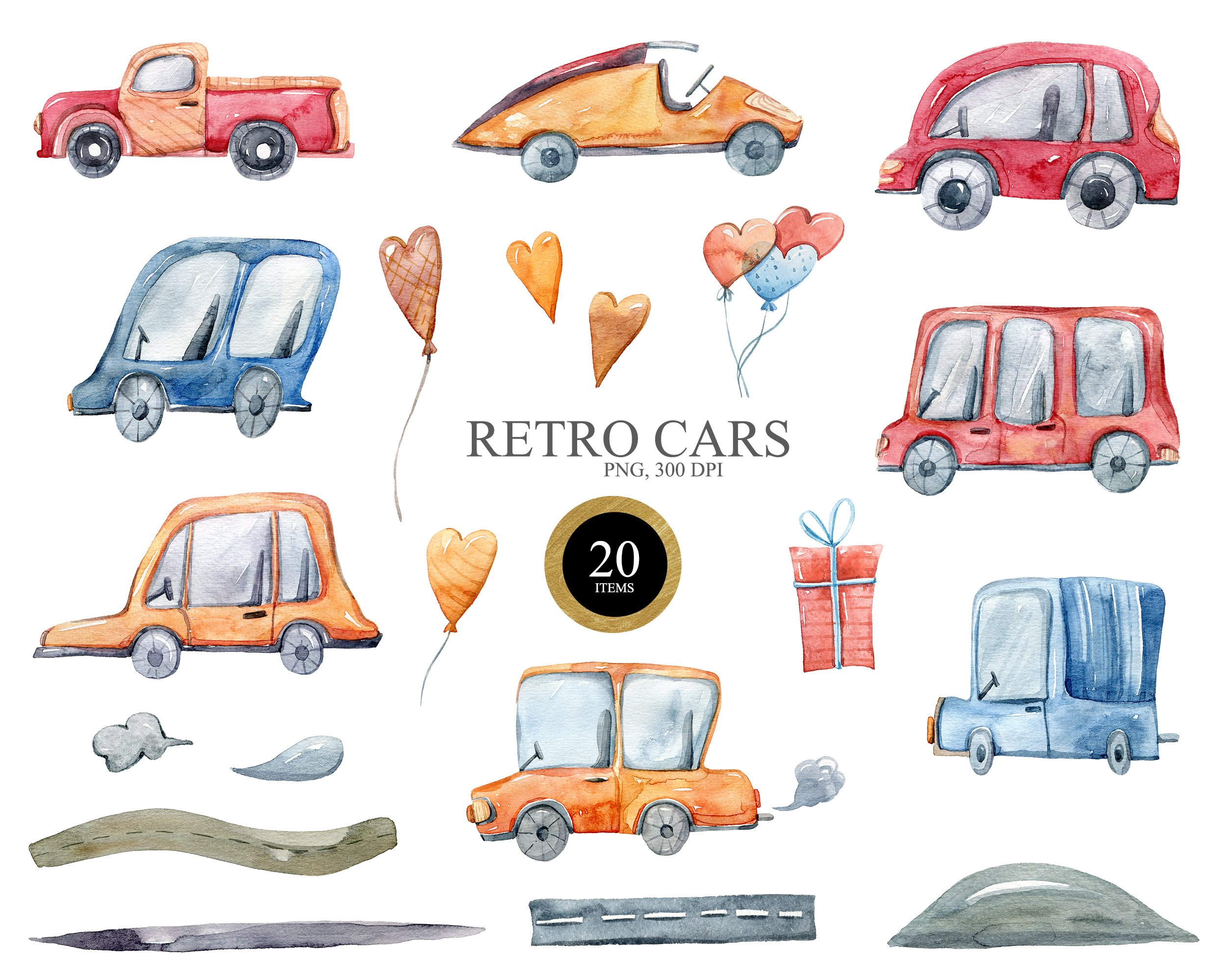 Watercolor funny cars clipart. Transport creator example image 3