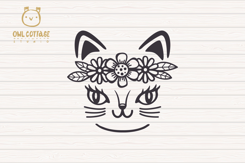 Download Cat Face Svg, Cute Cat Cut File, Kitten SVG (544889) | Cut ...