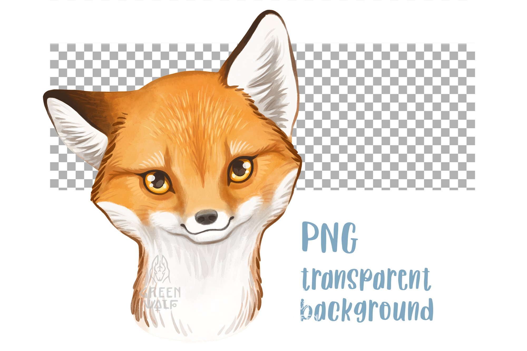 Baby fox drawing Watercolor art Forest animal clipart PNG example image 2