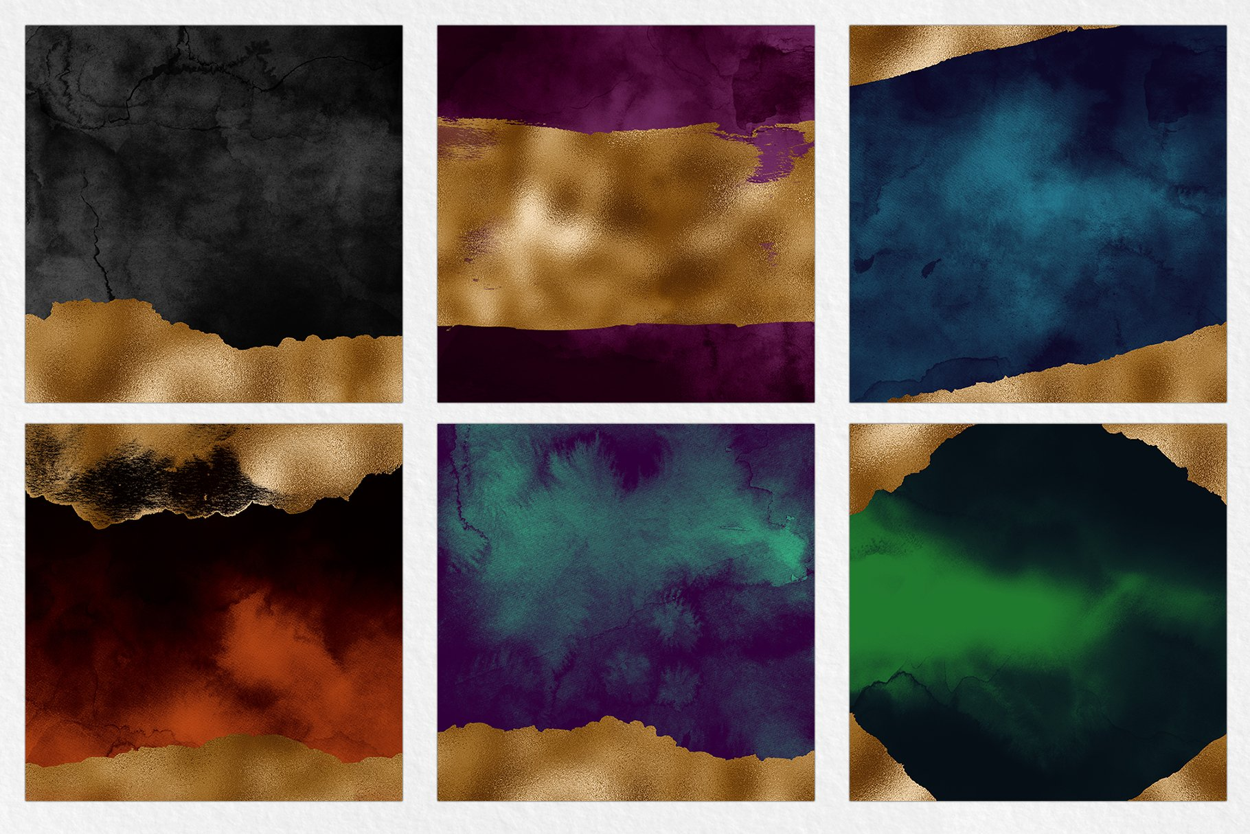 Dark & Gold Watercolor Texture Pack example image 4
