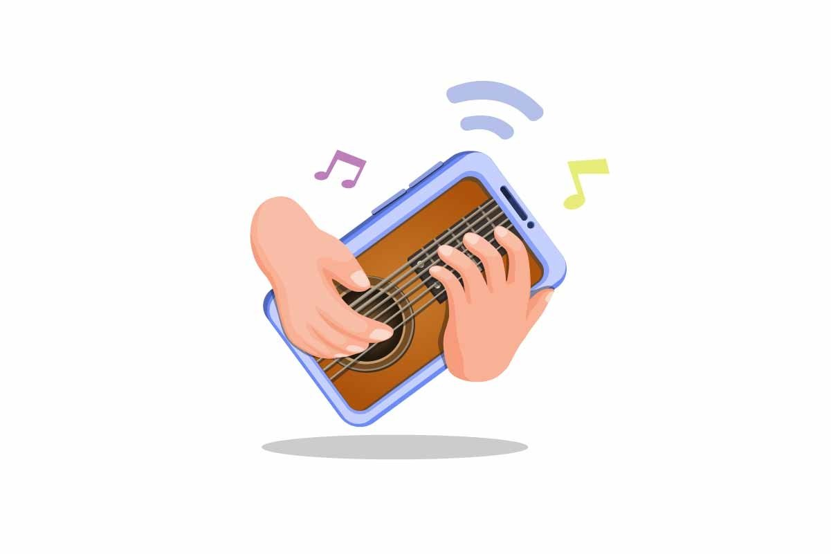 Hand playing guitar on smartphone. virtual music instrument example image 1