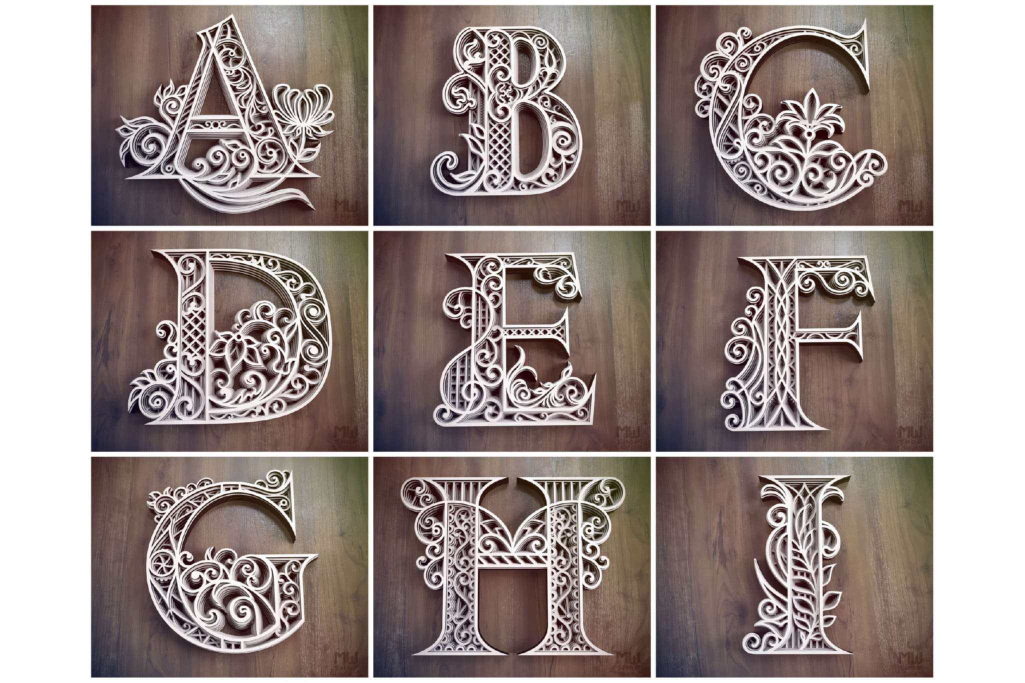 A-Z Layered Letters Bundle, Alphabet letters Bundle example image 4