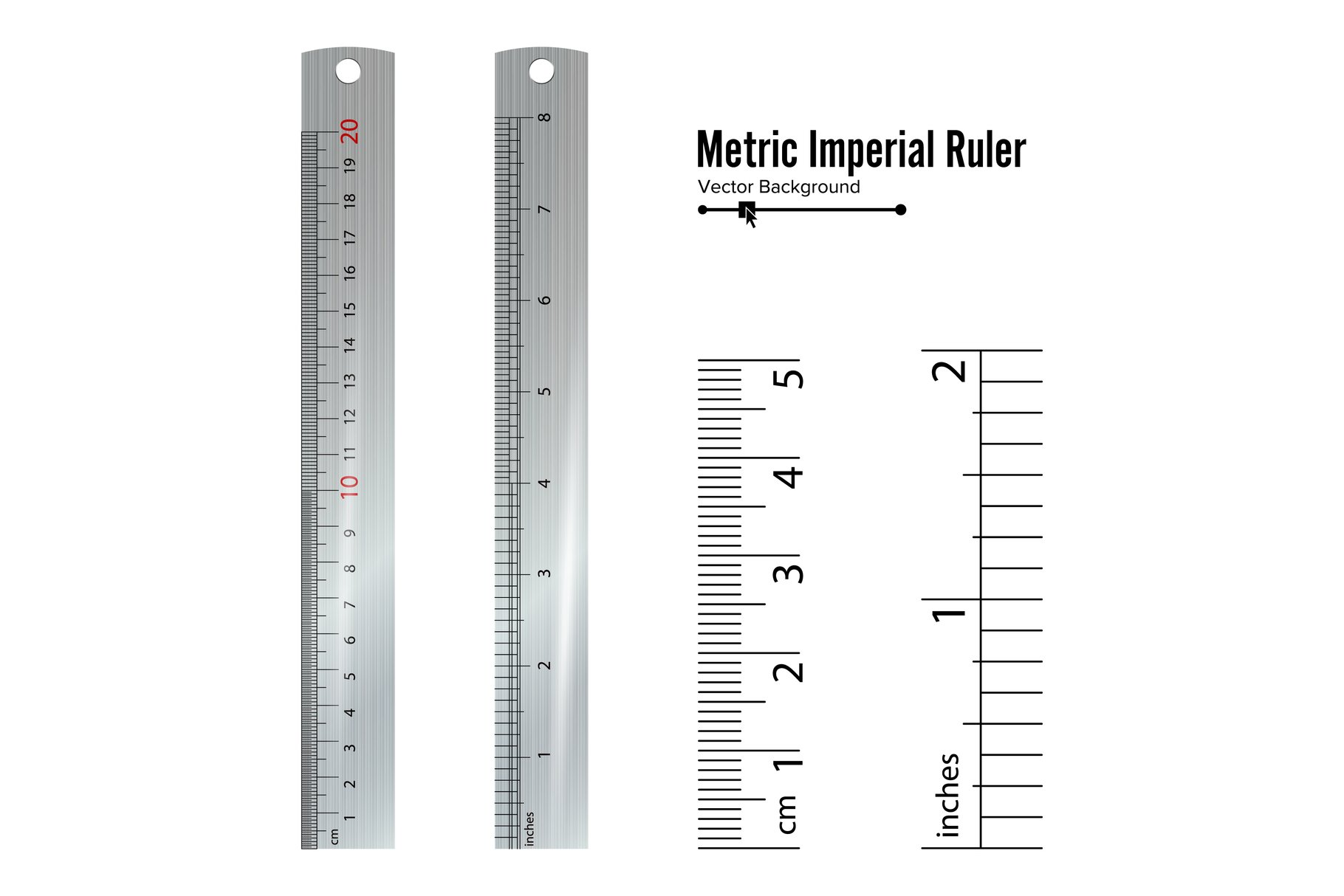 Metric Imperial Rulers Vector. Centimeter And Inch. Measure example image 1