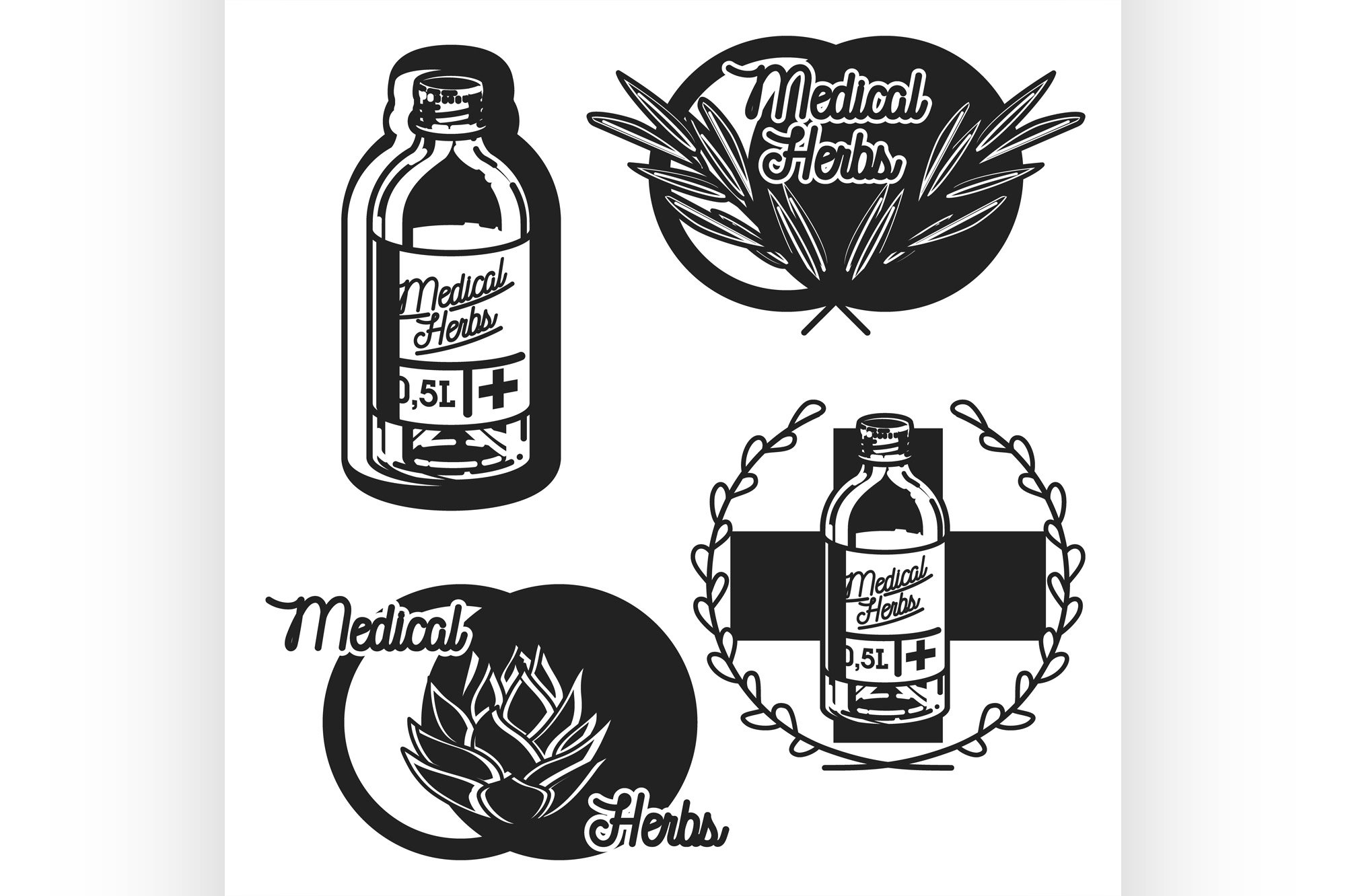 Color vintage medical plants herbs emblems example image 1
