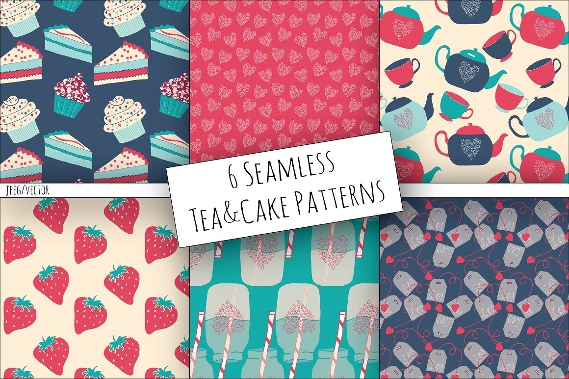 Tea & Cake Clipart and Seamless Pattern Collection - Tea Party Digital example image 4