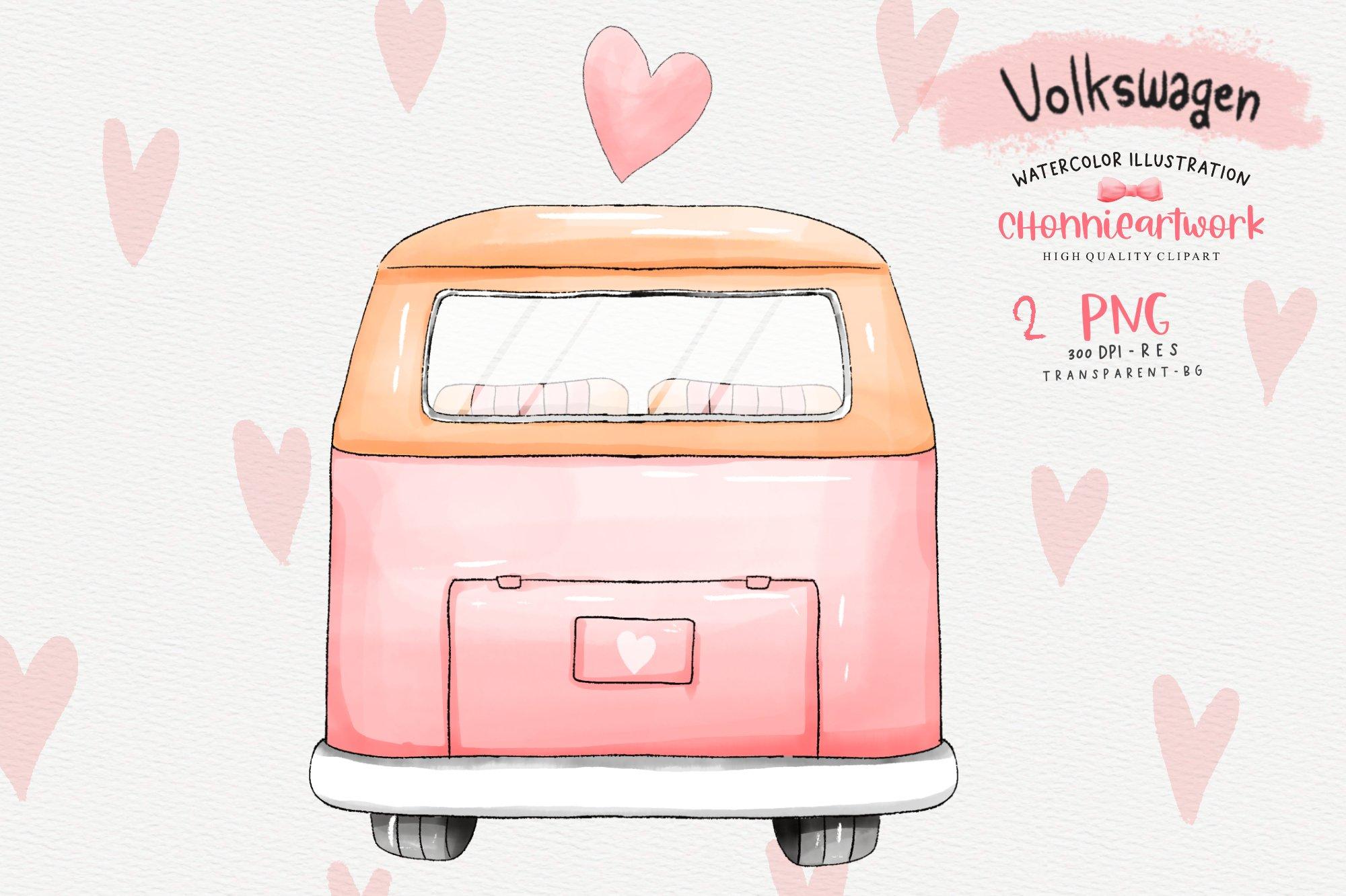 Download Watercolor Pink Volkswagen Van Sublimation Designs 1164670 Illustrations Design Bundles