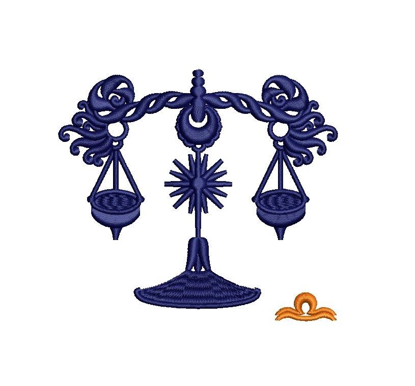 Libra Zodiac Sign - machine embroidery design, satin s example image 8