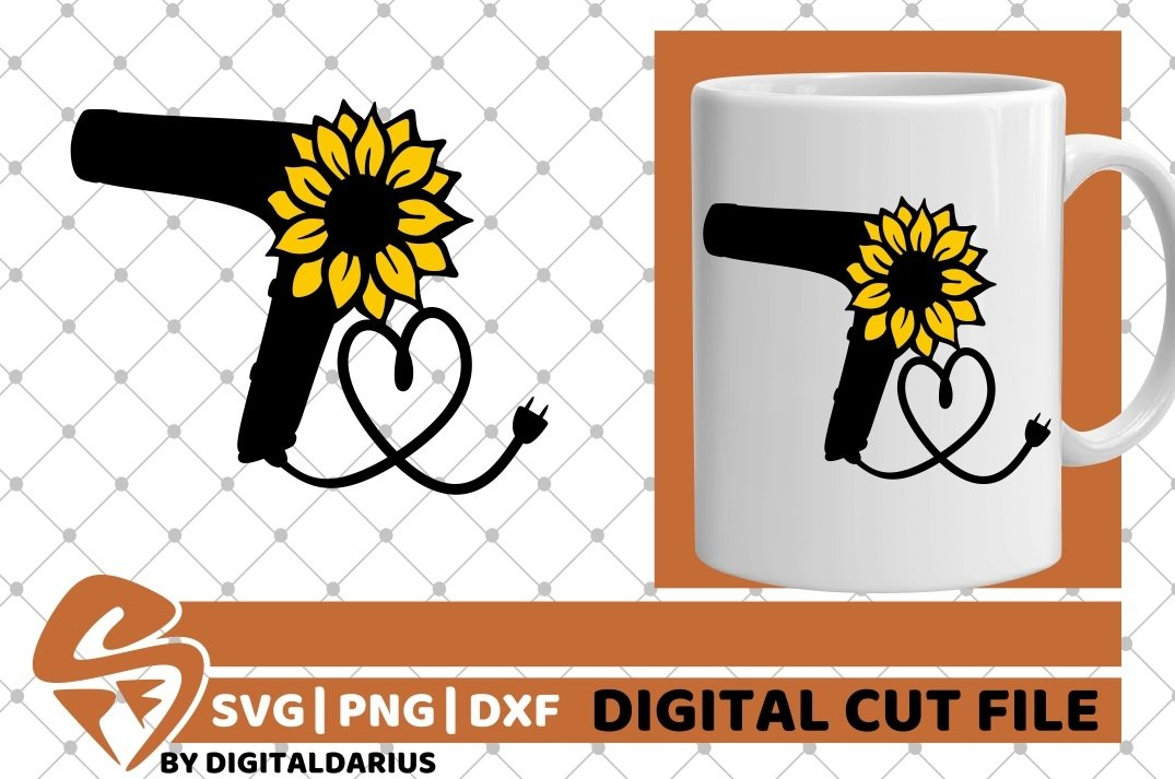 Hair Dryer svg, Hairstylist svg, Hairdresser svg, Sunflower example image 2