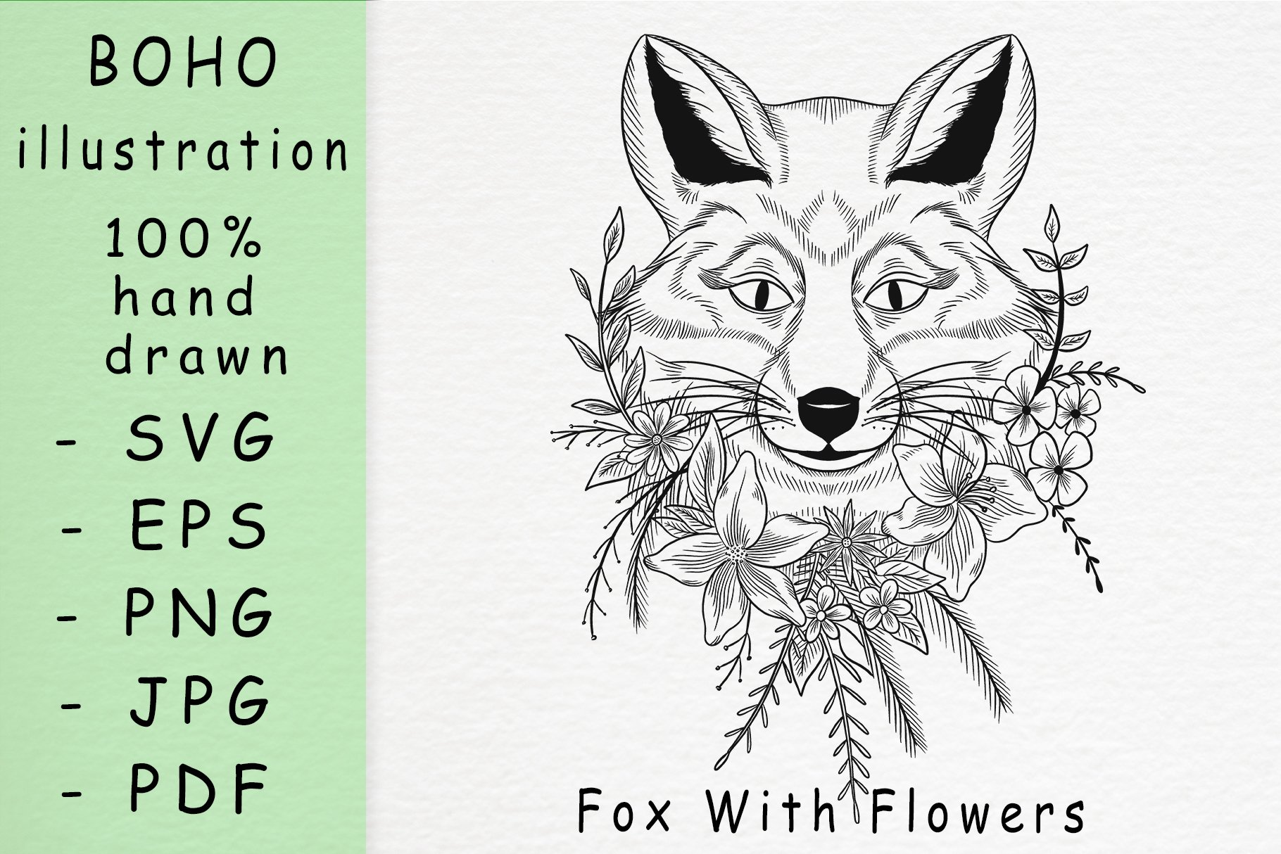 Boho illustration / Fox With Flowers example image 1