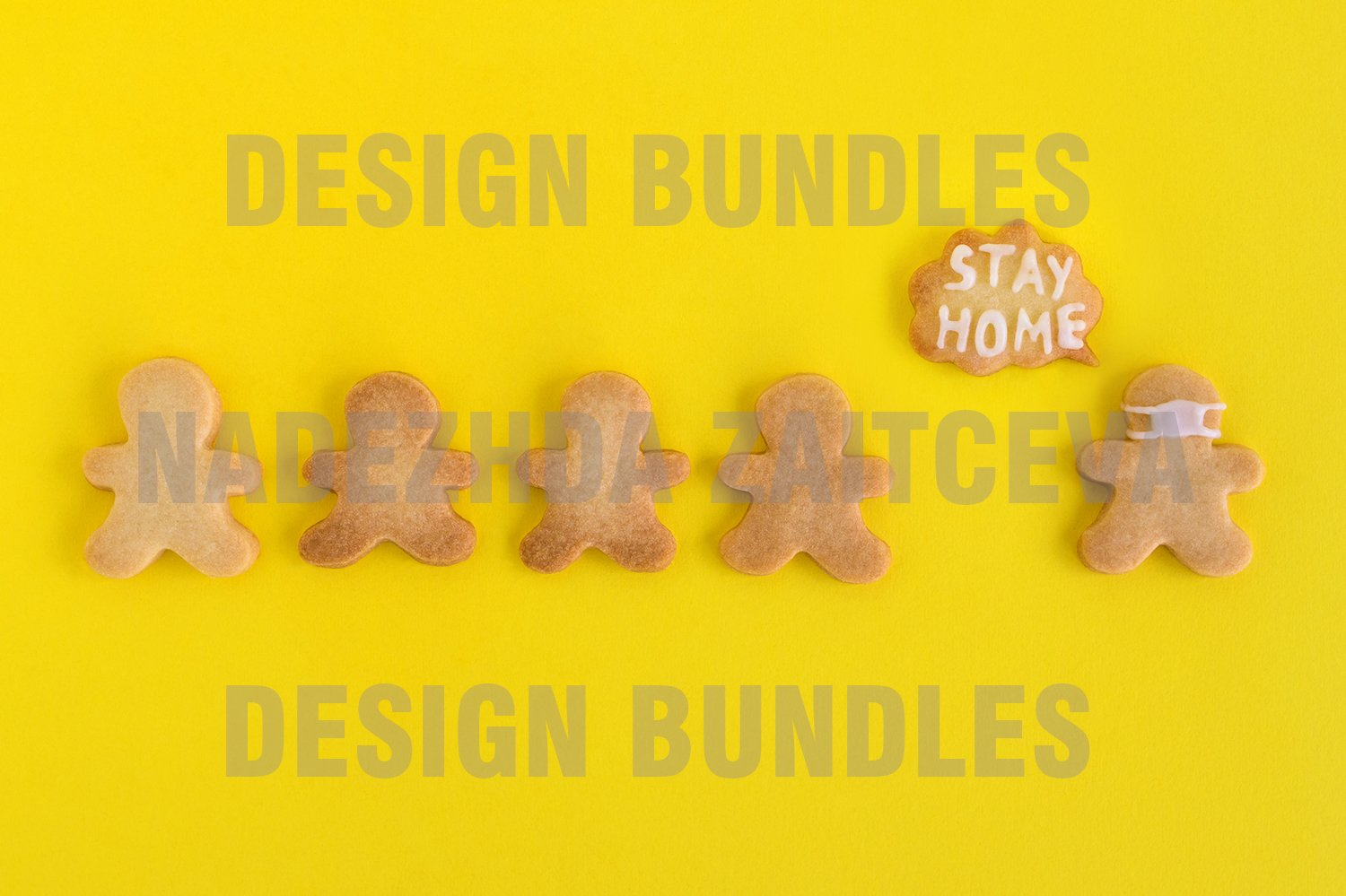 Sweet shortbread with white glaze on yellow background example image 1