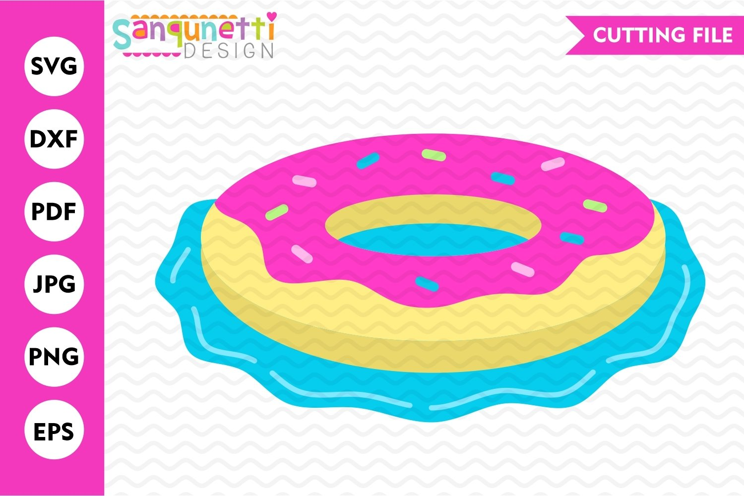 Donut pool float SVG, summer swimming cutting file example image 1