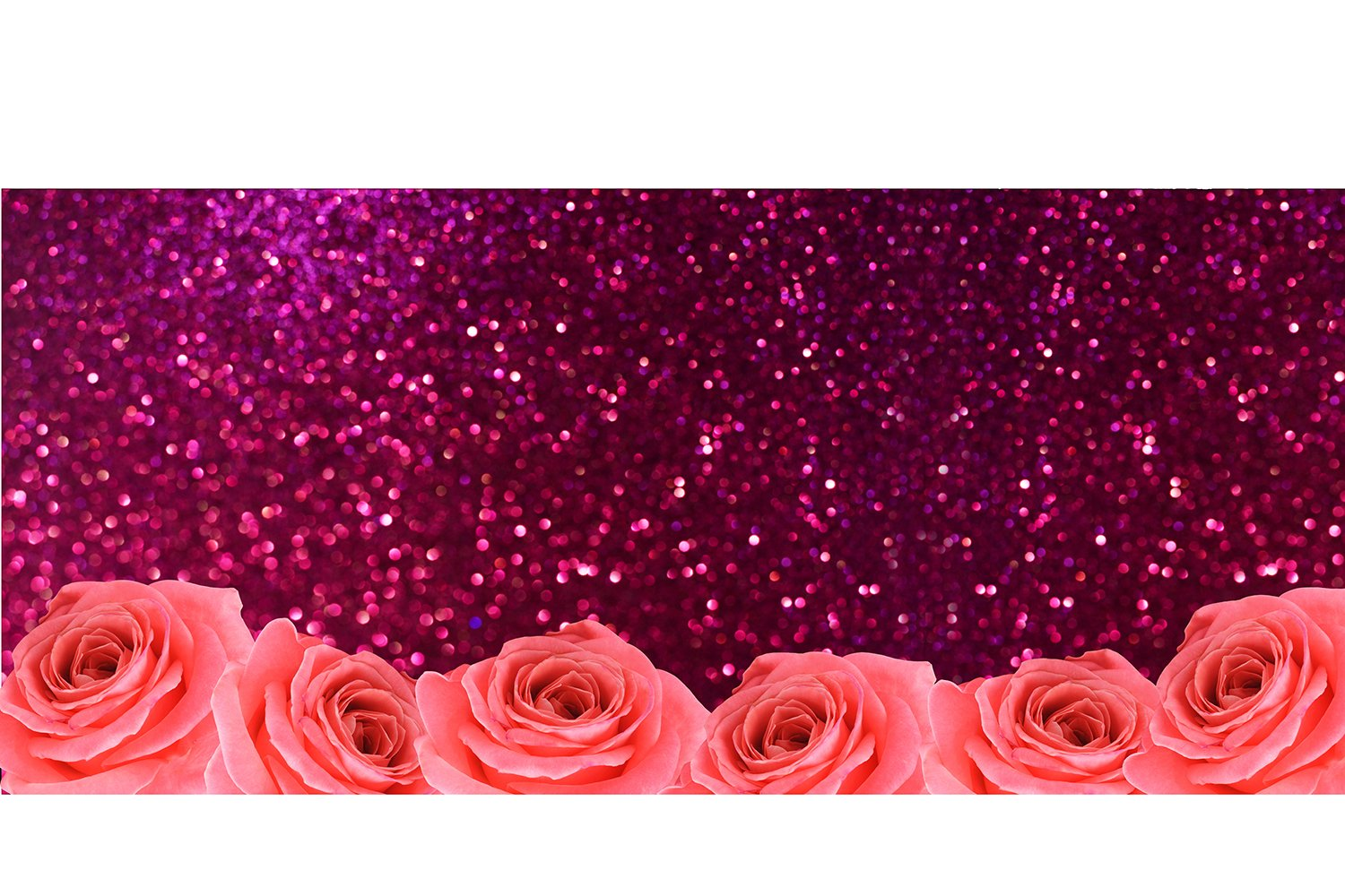 banner texture background with roses flowers and pink bokeh example image 1