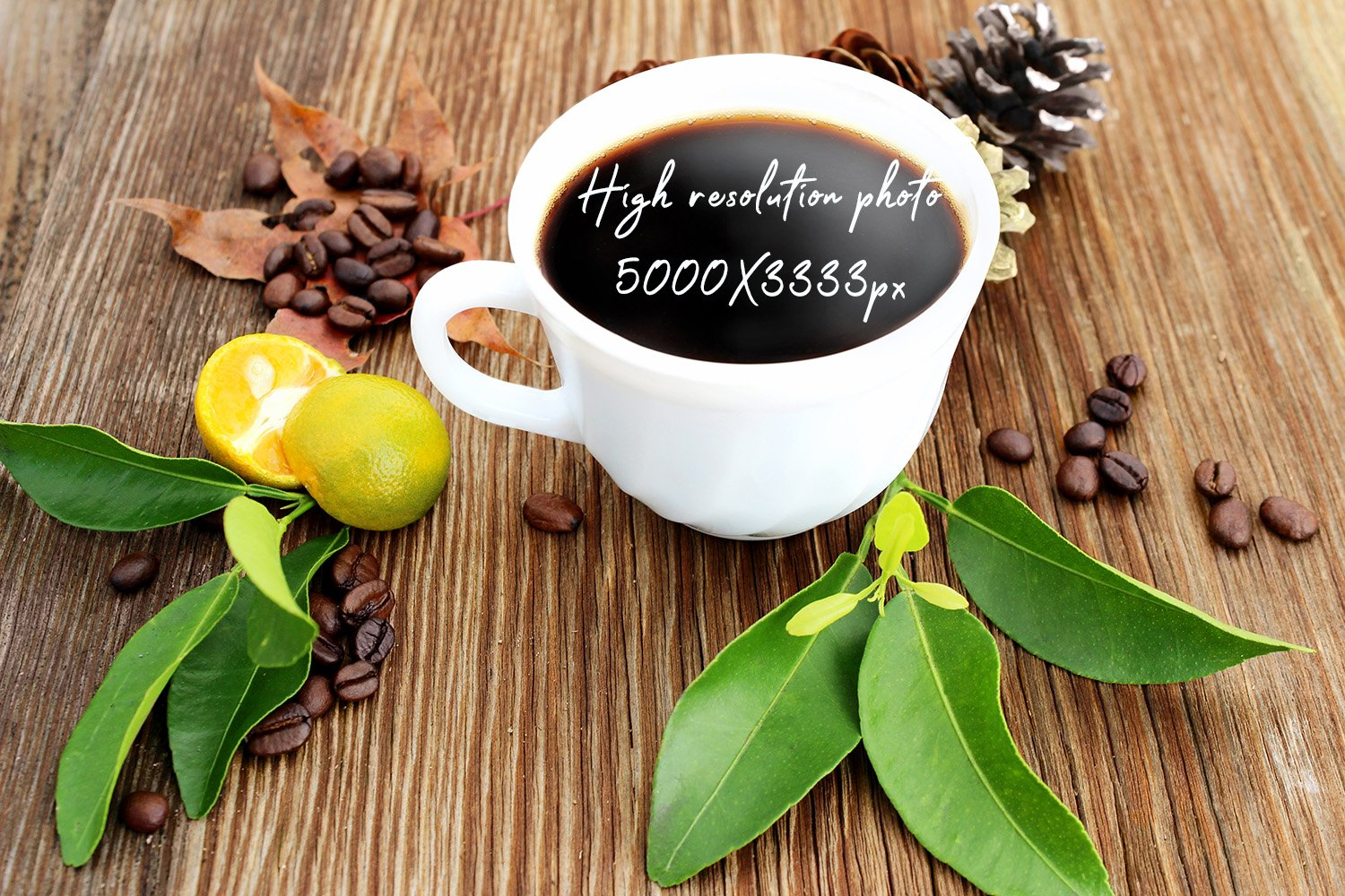 Cup of coffee with coffee grains on old wooden background example image 1