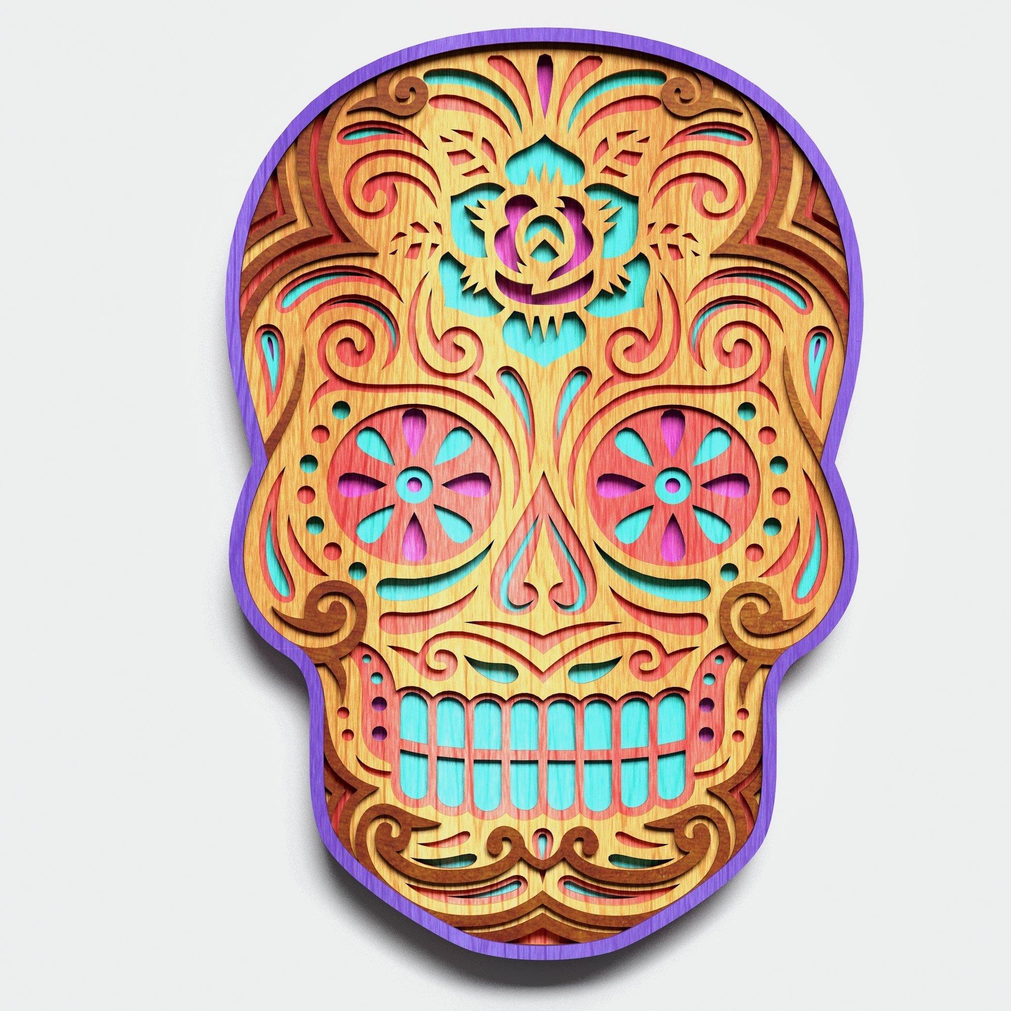 Multilayer Sugar Skull Mandala - S2, for cutting machines example image 5