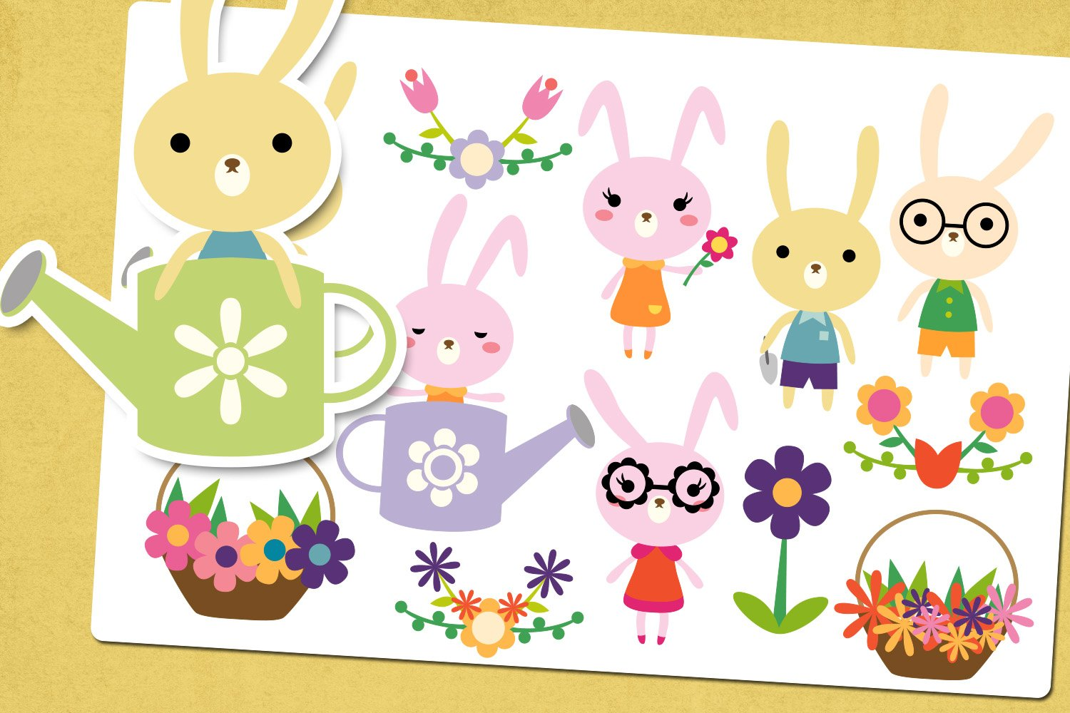 Spring bunny garden illustrations clip art example image 1
