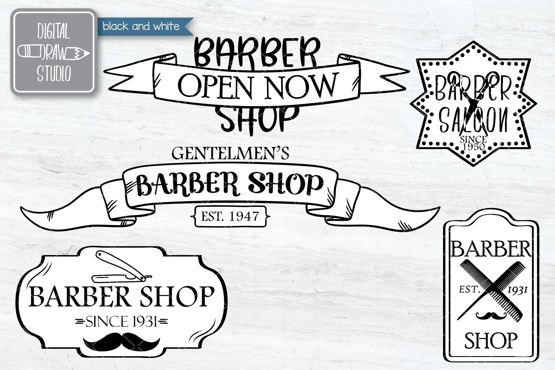 Hand Drawn Barber Shop Logo| Retro Hairdresser | Esp Svg Png example image 6