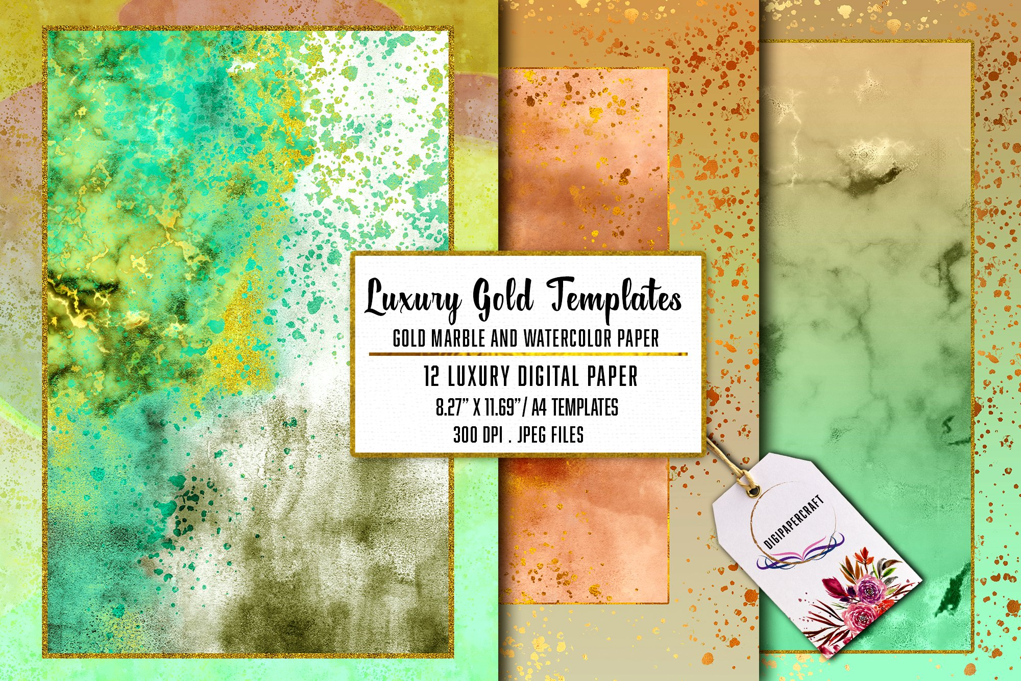 Gold Marble & watercolor geometric templates, Abstract Paper example image 1