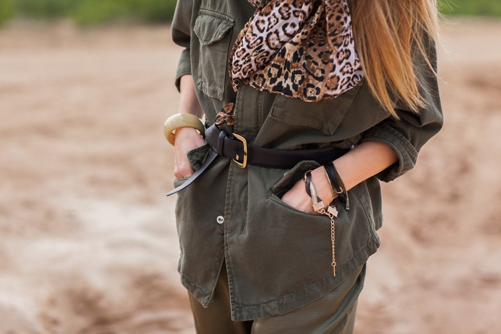 Clothing details, accessories, safari style, side view example image 1