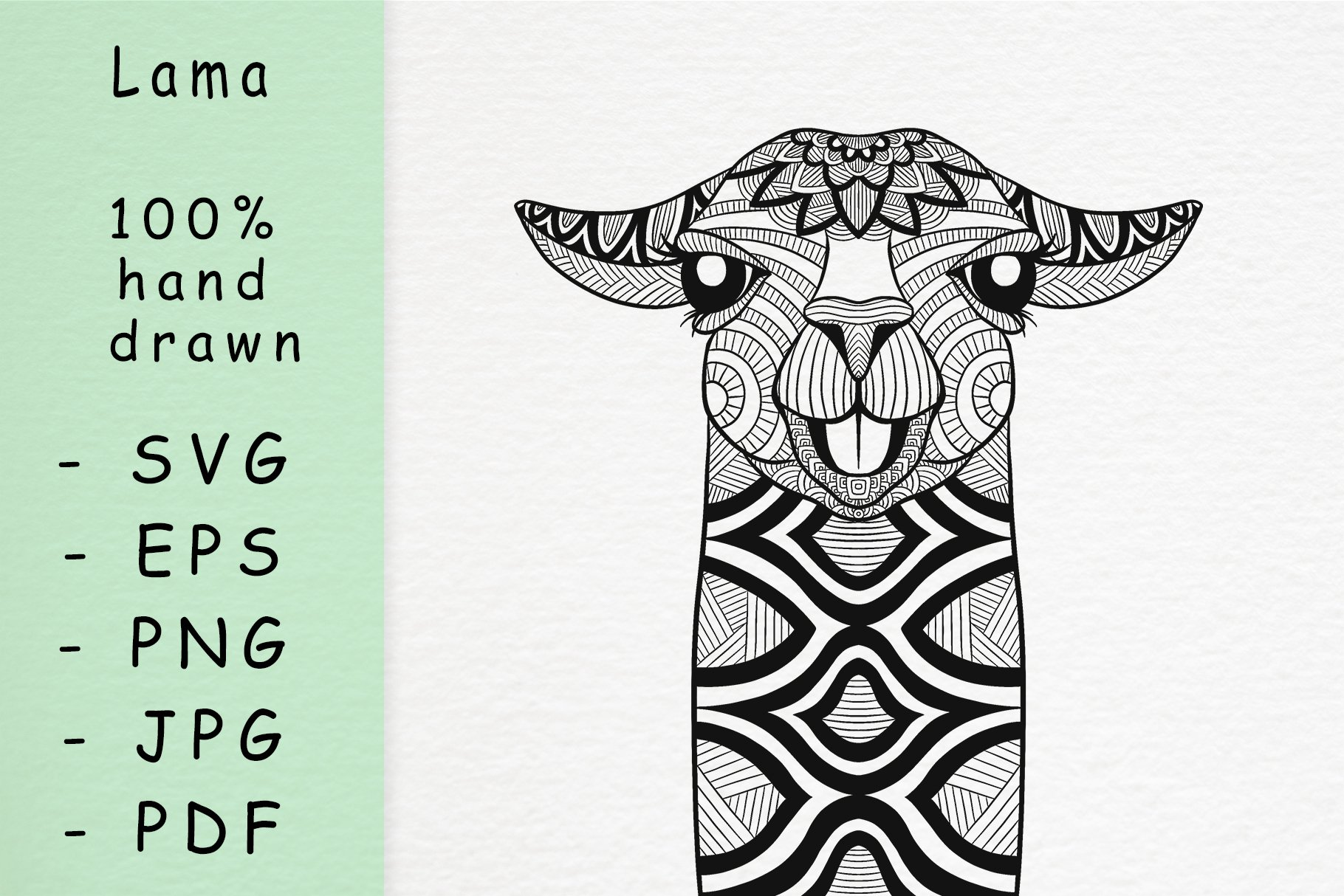 Hand drawn Lama with patterns example image 1