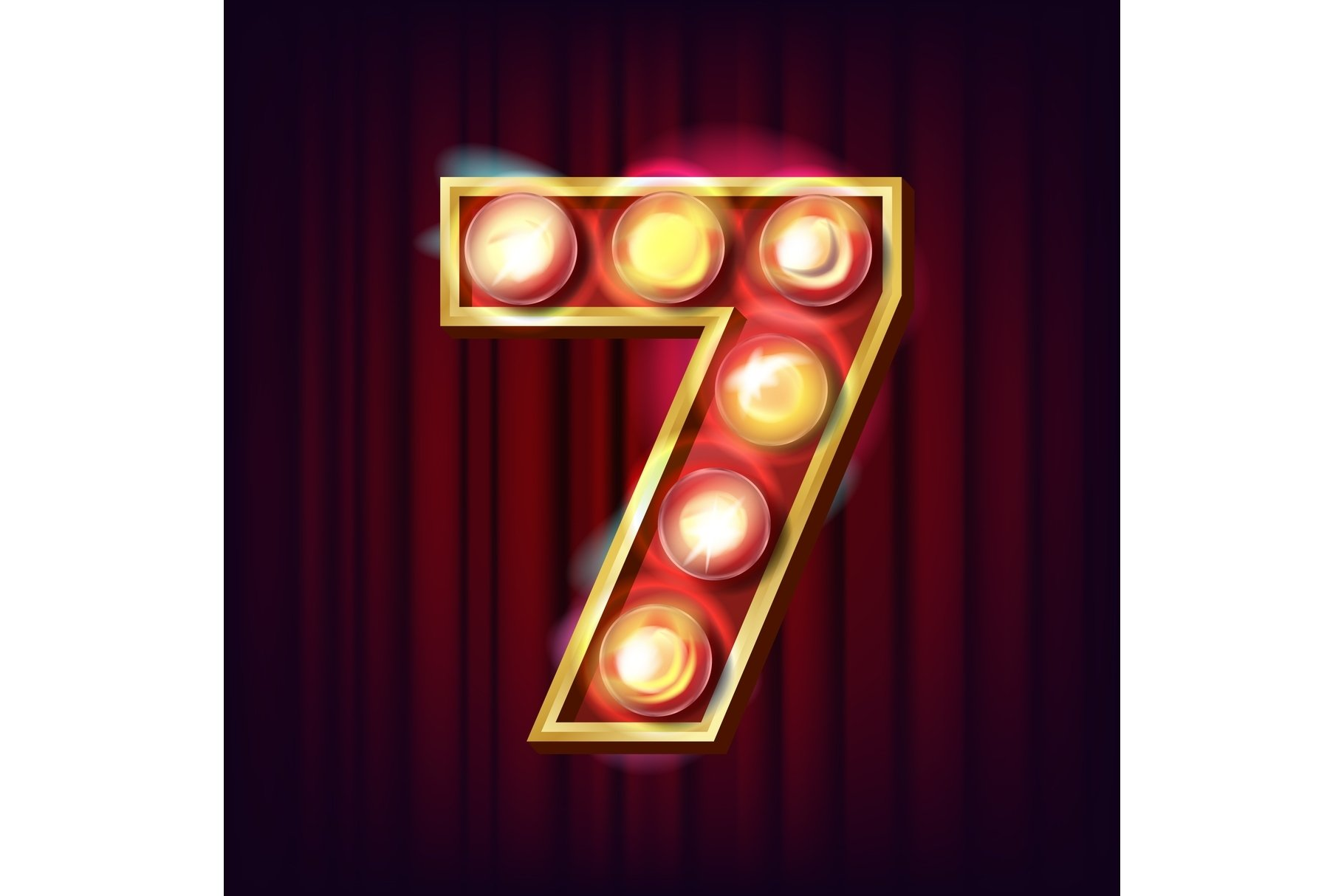 7 Number Vector. Seven Font Marquee Light Sign. Realistic example image 1