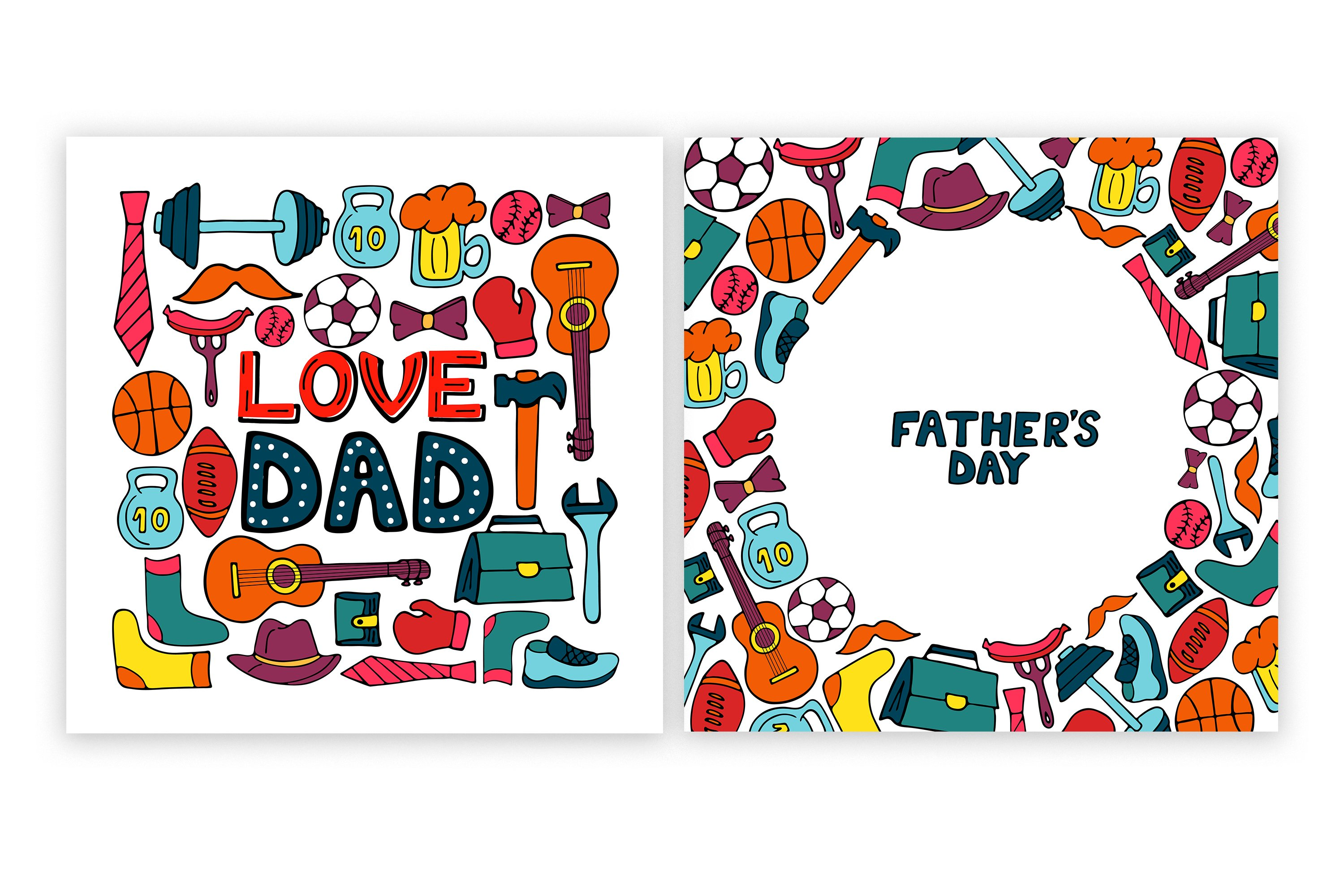 Happy Father's Day. Greeting cards and seamless pattern example image 4