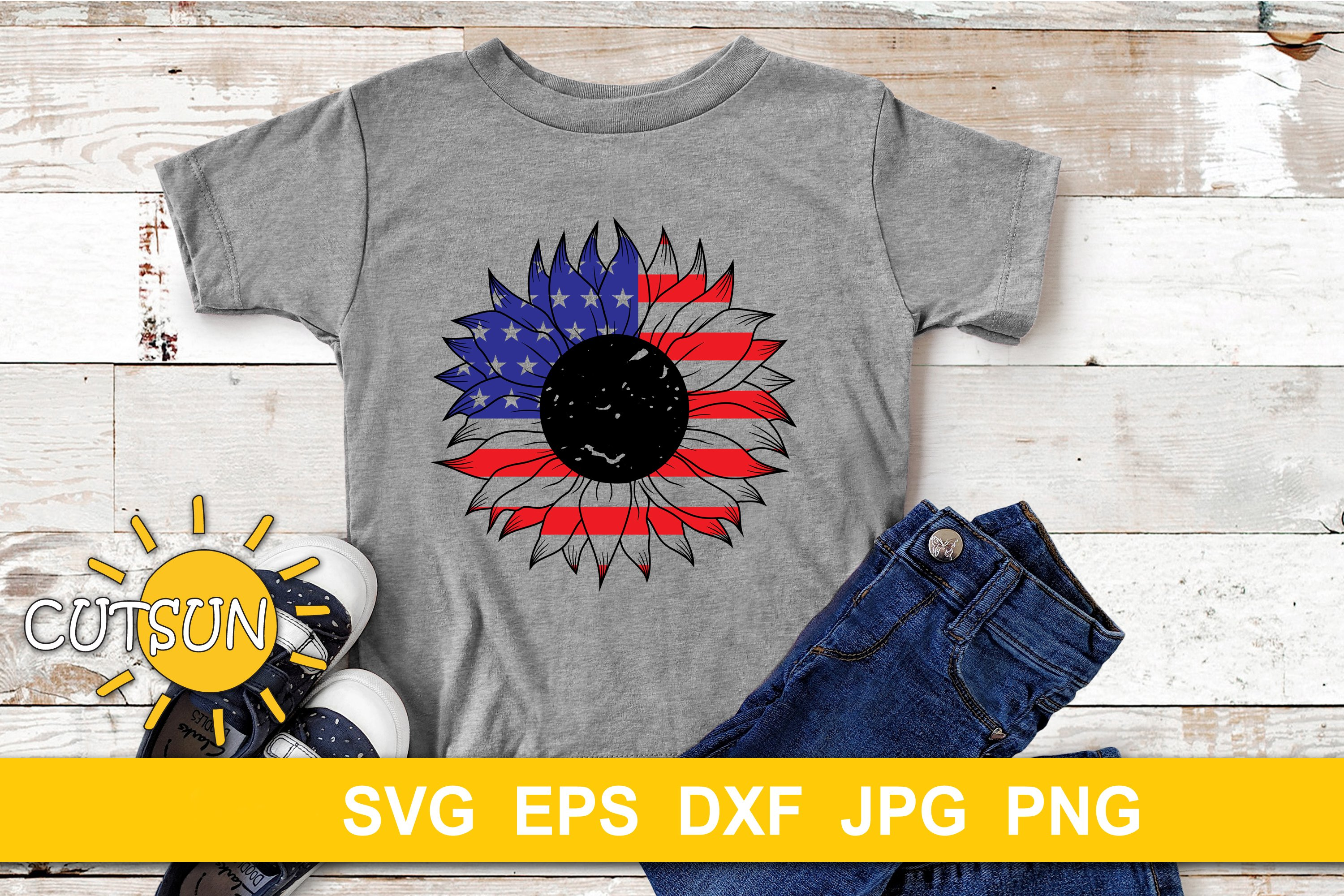 USA Sunflower SVG cut file example image 3