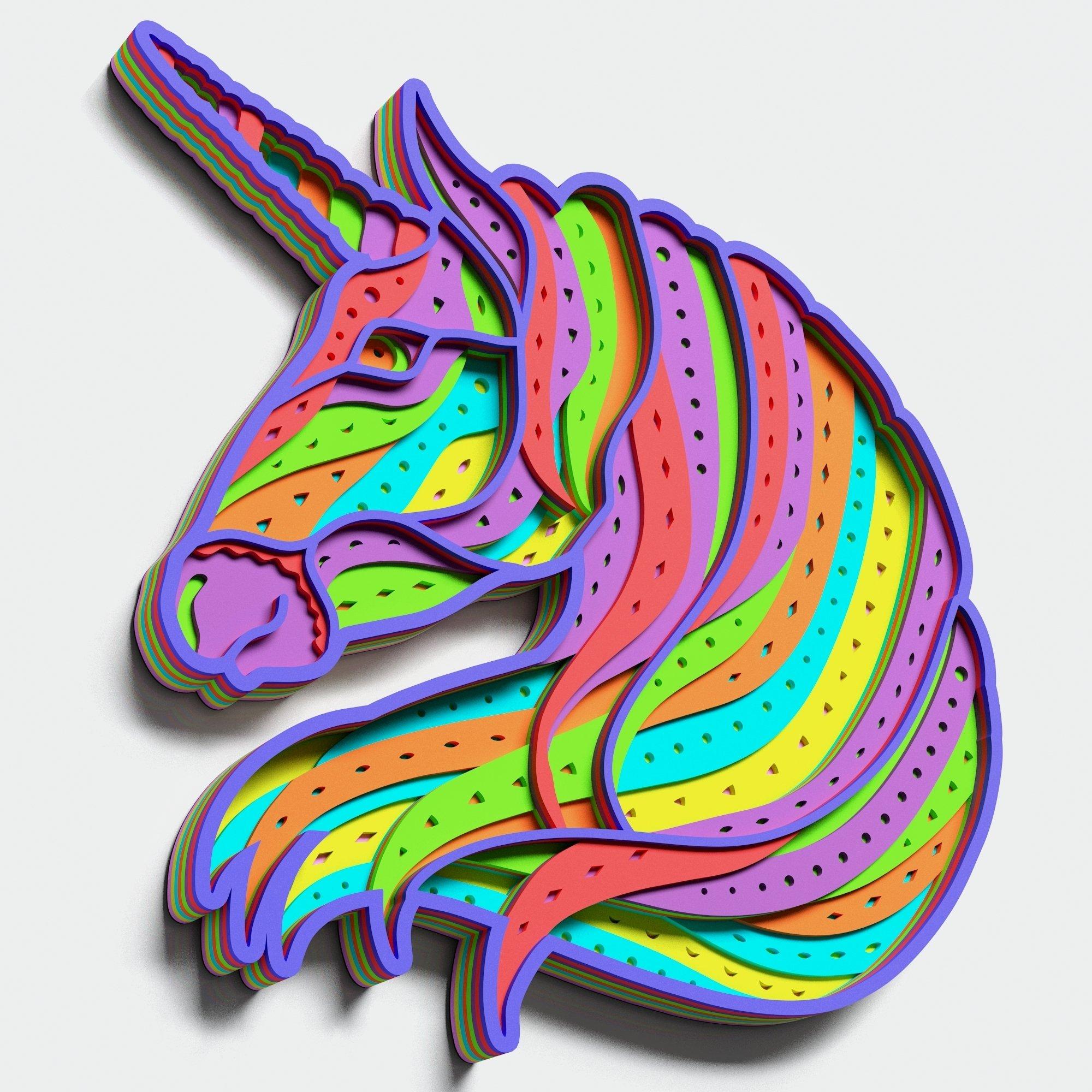 Multilayer Unicorn Mandala, Vector file for cutting example image 3