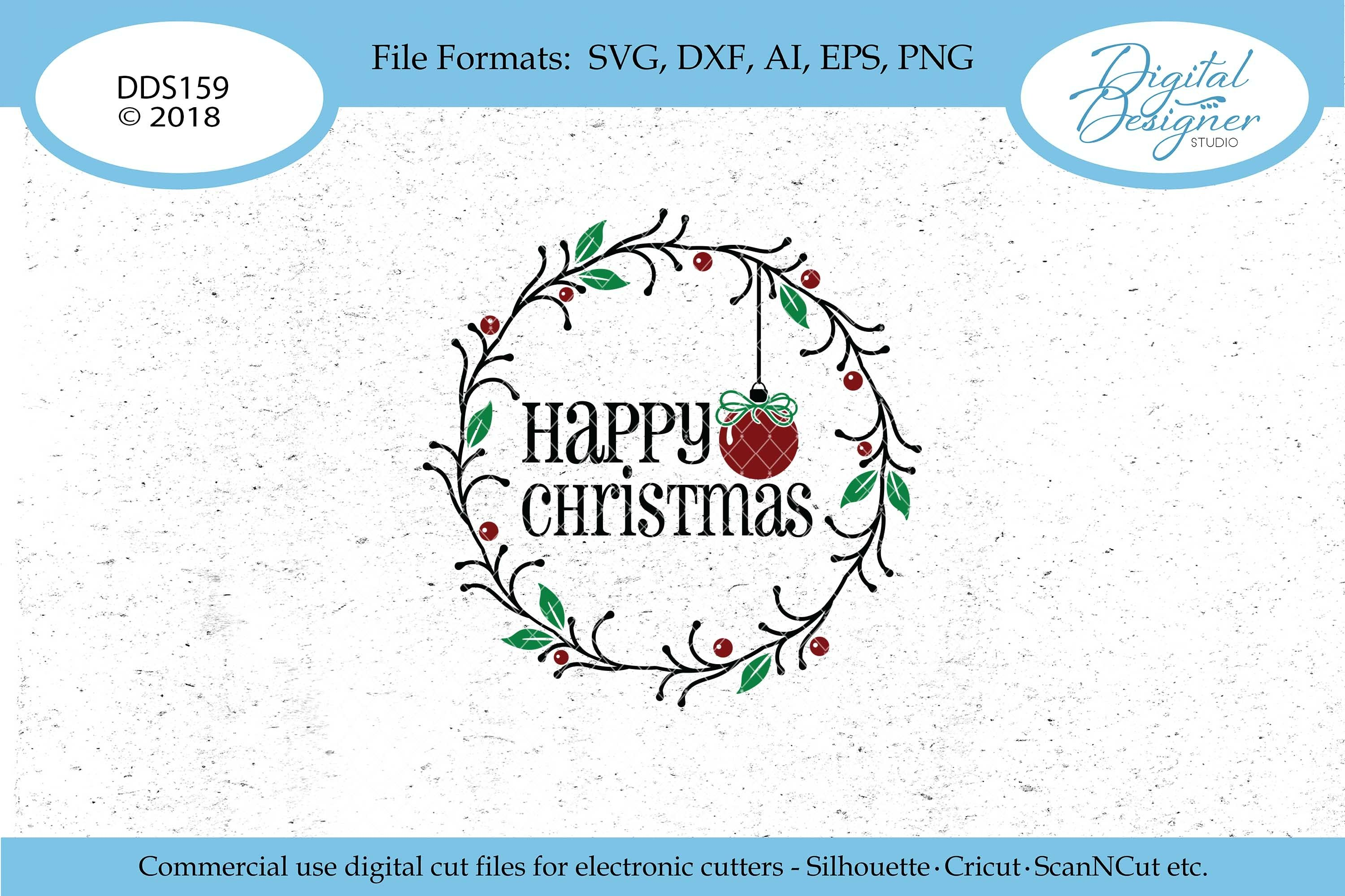 Happy Christmas Wreath With Bauble Svg Dxf Png Cut File 117402 Svgs Design Bundles