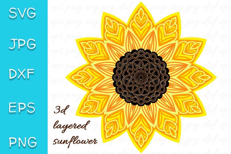 Download 3D Layered Sunflower SVG. Mandala Cut file. 7 layers ...
