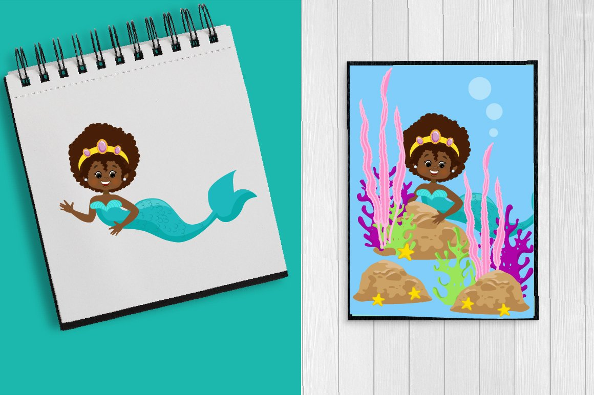 Mermaids Clipart Pack example image 4