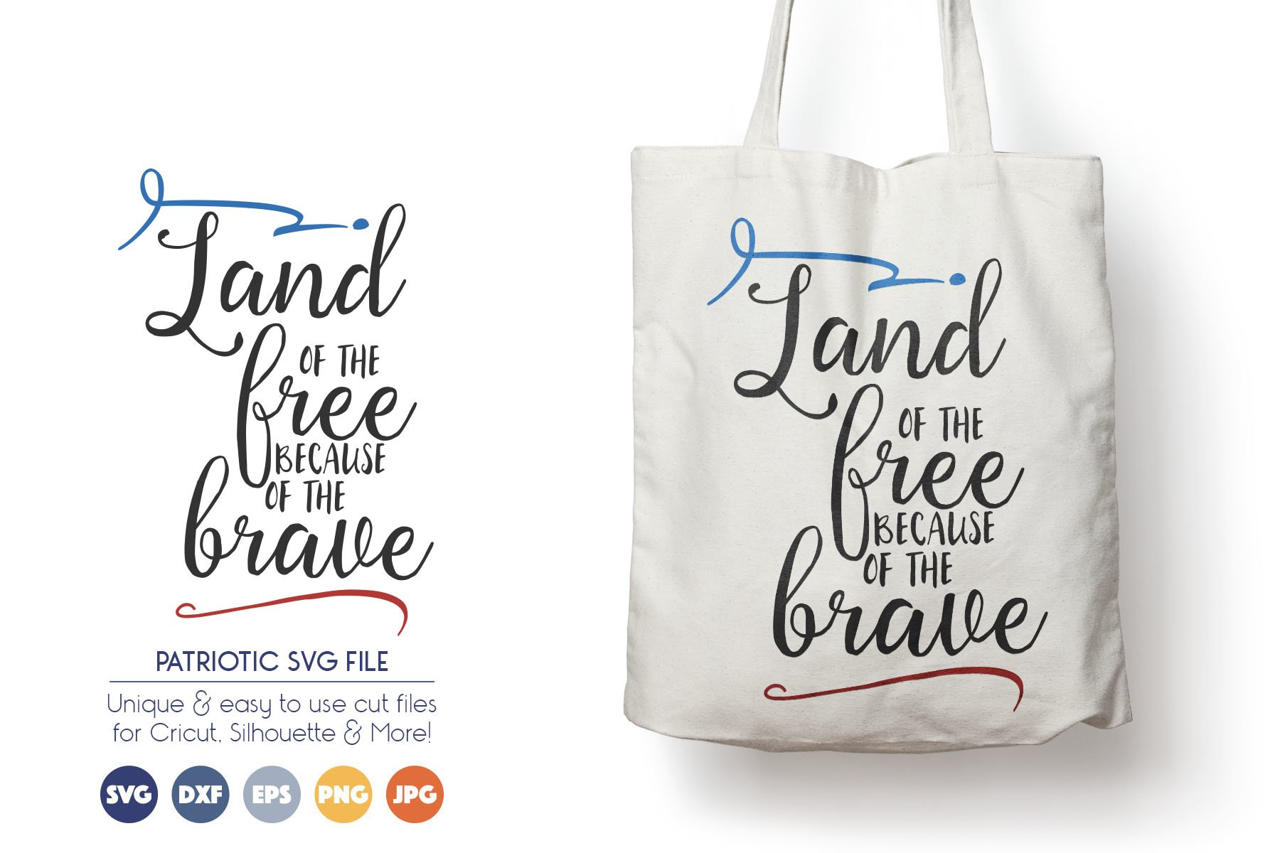 Patriotic SVG Cut Files - Land of Free Because of the Brave example image 1
