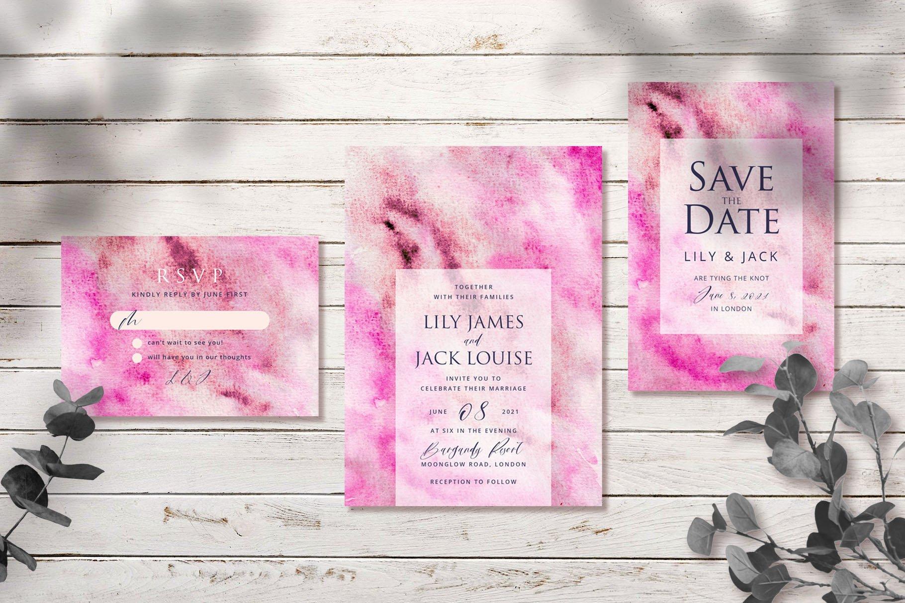 Abstract Pink Watercolor Wedding Invitation Set example image 3