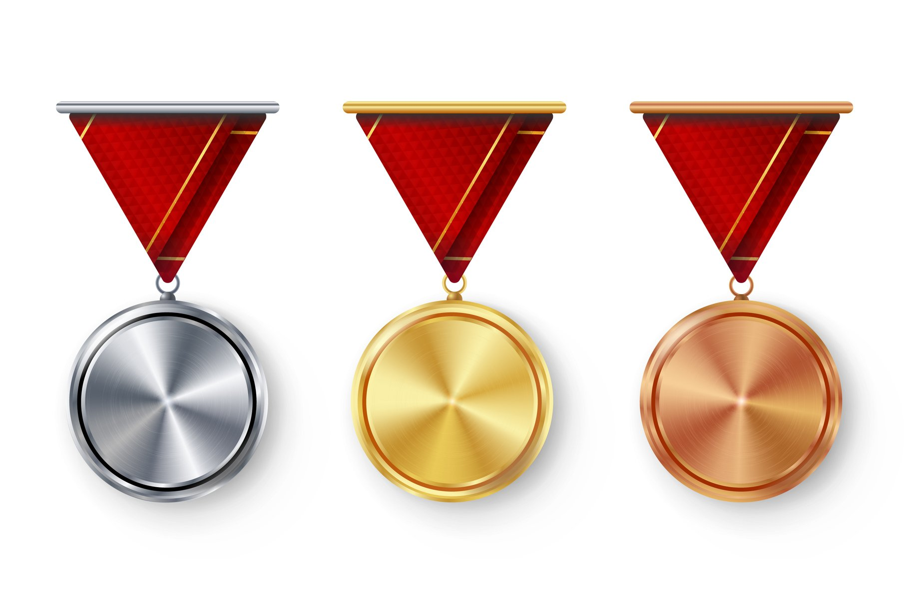Champion Medals Blank Set Vector. Metal Realistic First example image 1