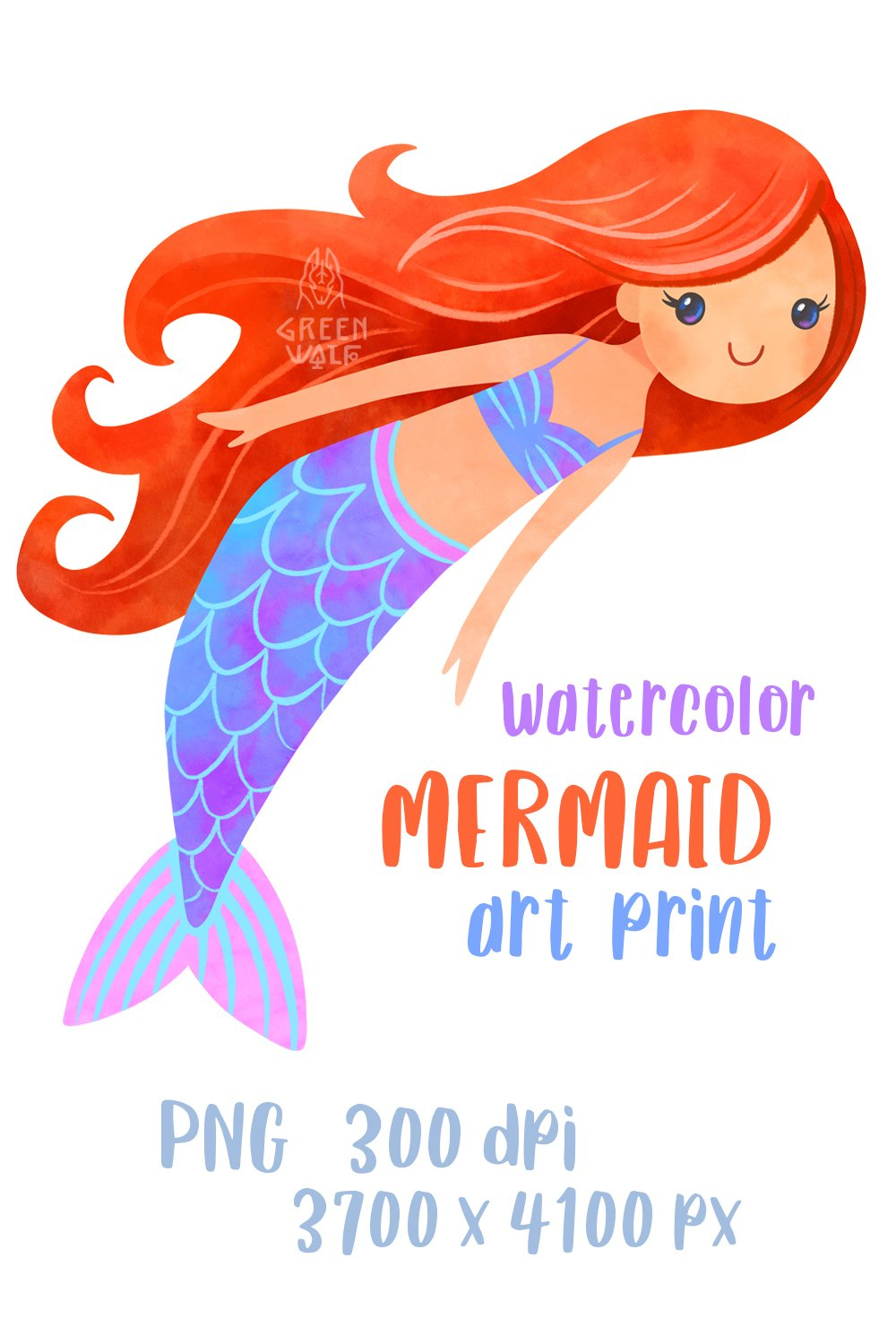 Watercolor mermaid t shirt print for girl PNG Sublimation example image 4
