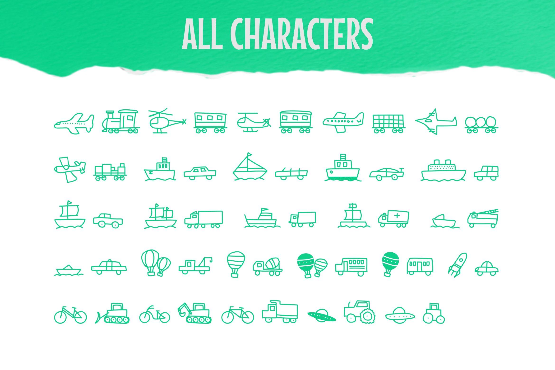 Child Transport Dingbats Font example image 3