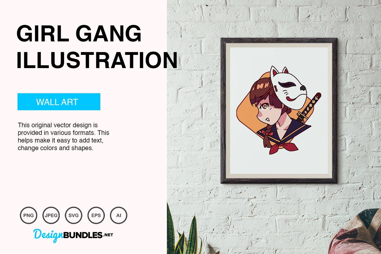 Cute Girl Gang Vector Illustration example image 4