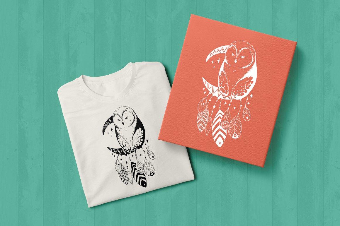 Dream catcher   Owl illustration   Line art example image 2