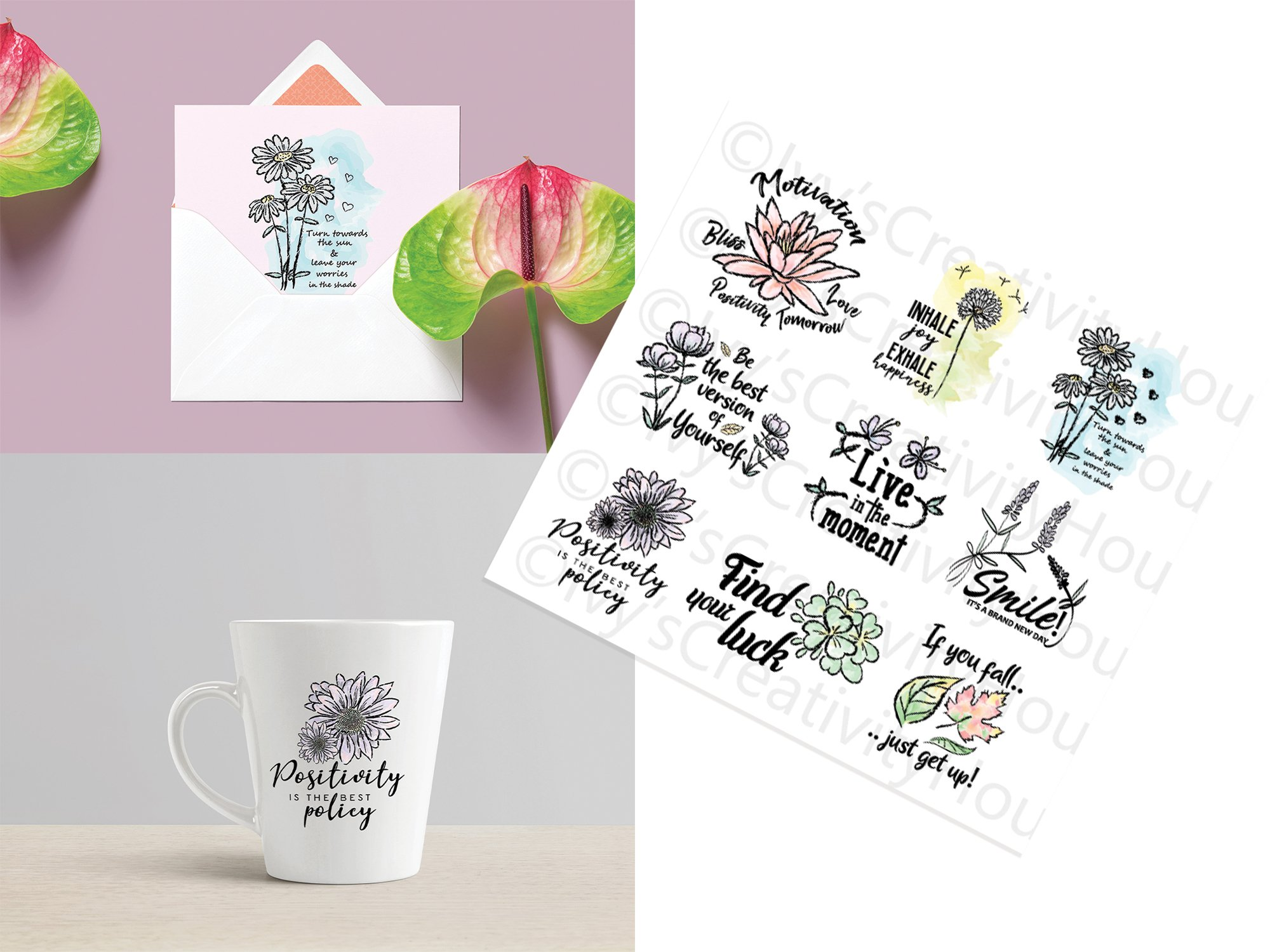 Floral Clipart, Watercolor Flowers, Positive Thoughts svg example image 2