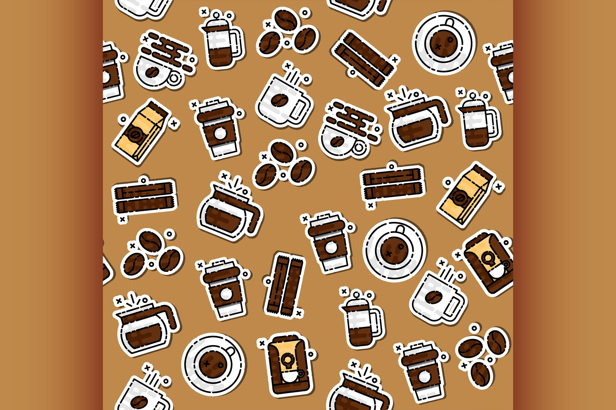 Coffee icons pattern example image 1