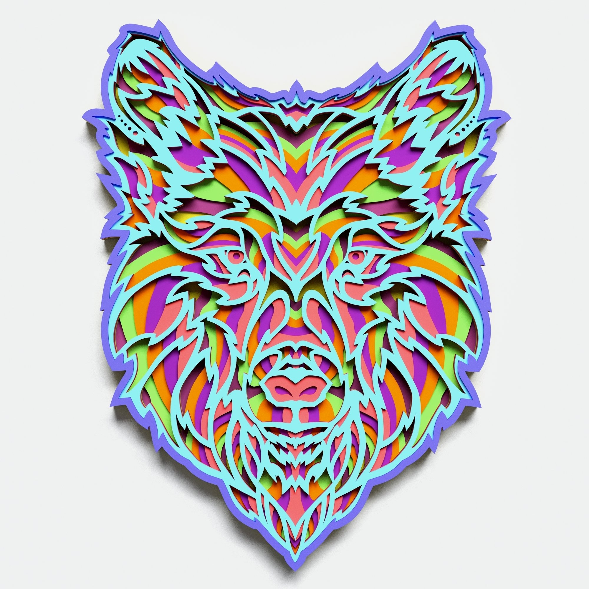 Multilayer Wolf Mandala, Vector file for cutting example image 2