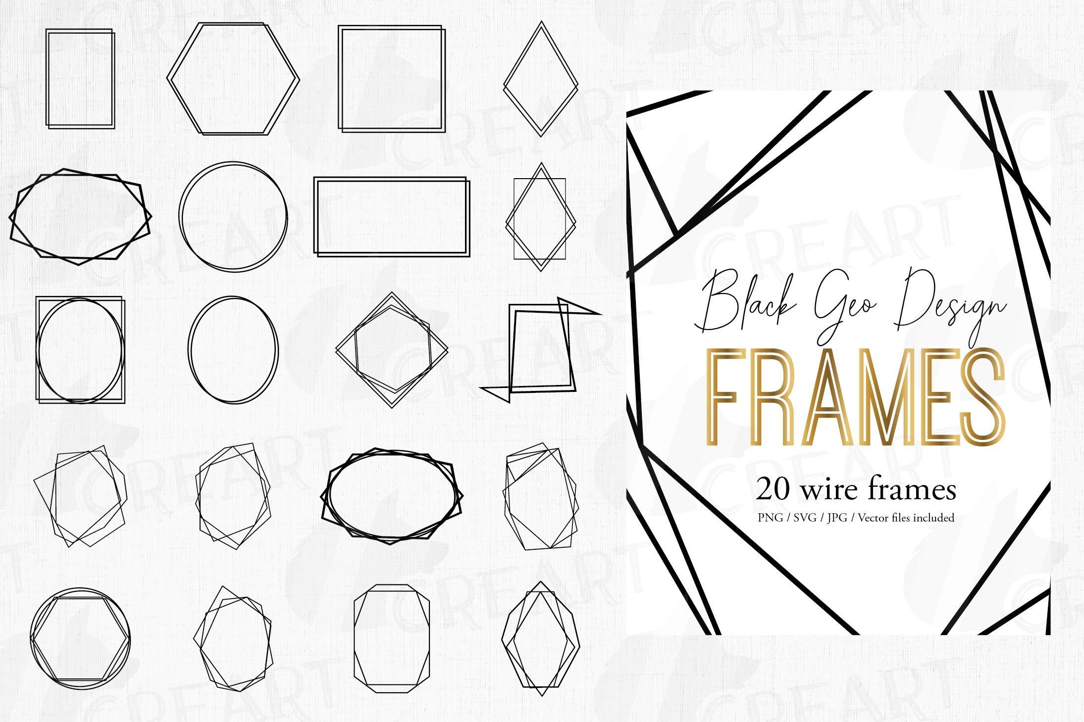 Download Geometric Black Frames Clip Art Wedding Invite Geo Borders 460893 Illustrations Design Bundles