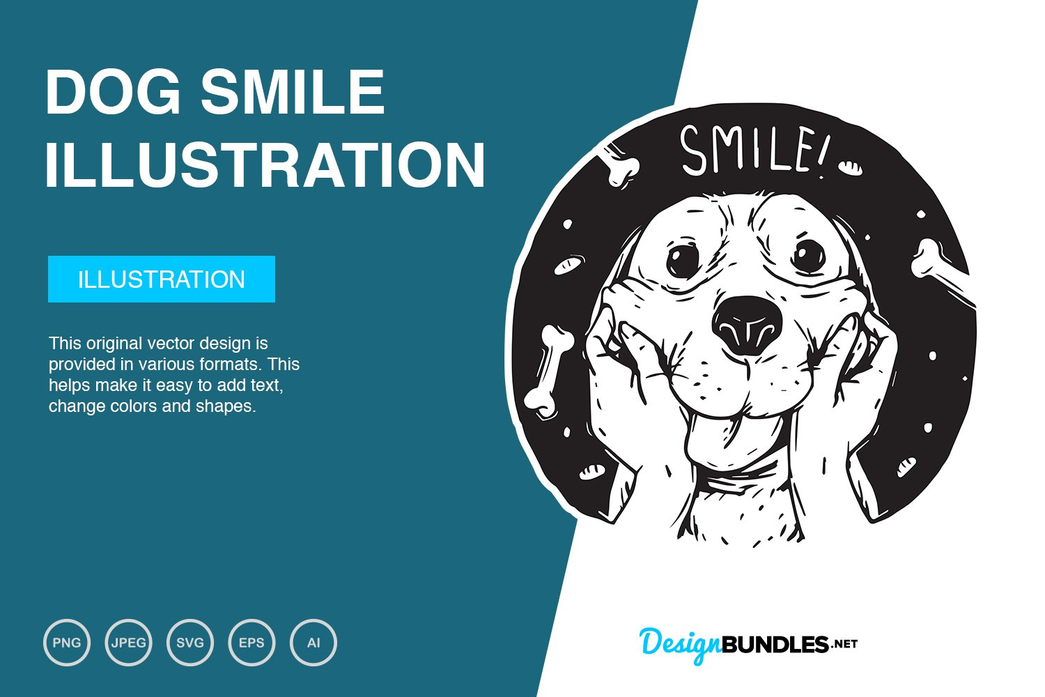 Dog Smile Vector Illustration example image 1